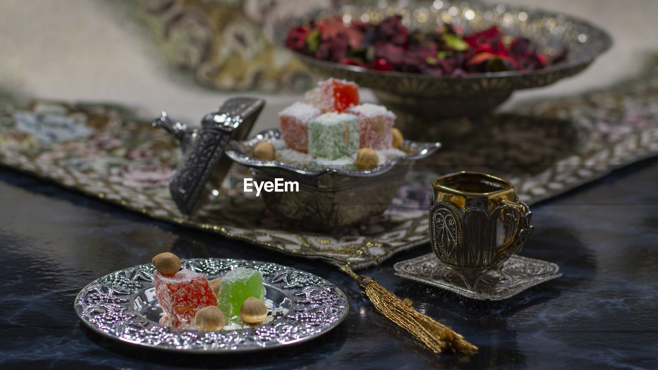 Turkish delight or lokum is a family of confections based on a gel of starch and sugar.