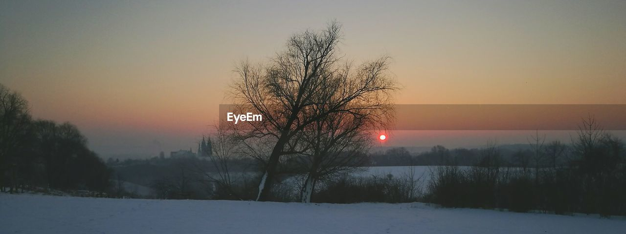 beauty in nature, winter, cold temperature, nature, scenics, tranquility, sunset, sun, bare tree, tranquil scene, snow, orange color, no people, tree, sky, outdoors, landscape, clear sky, day