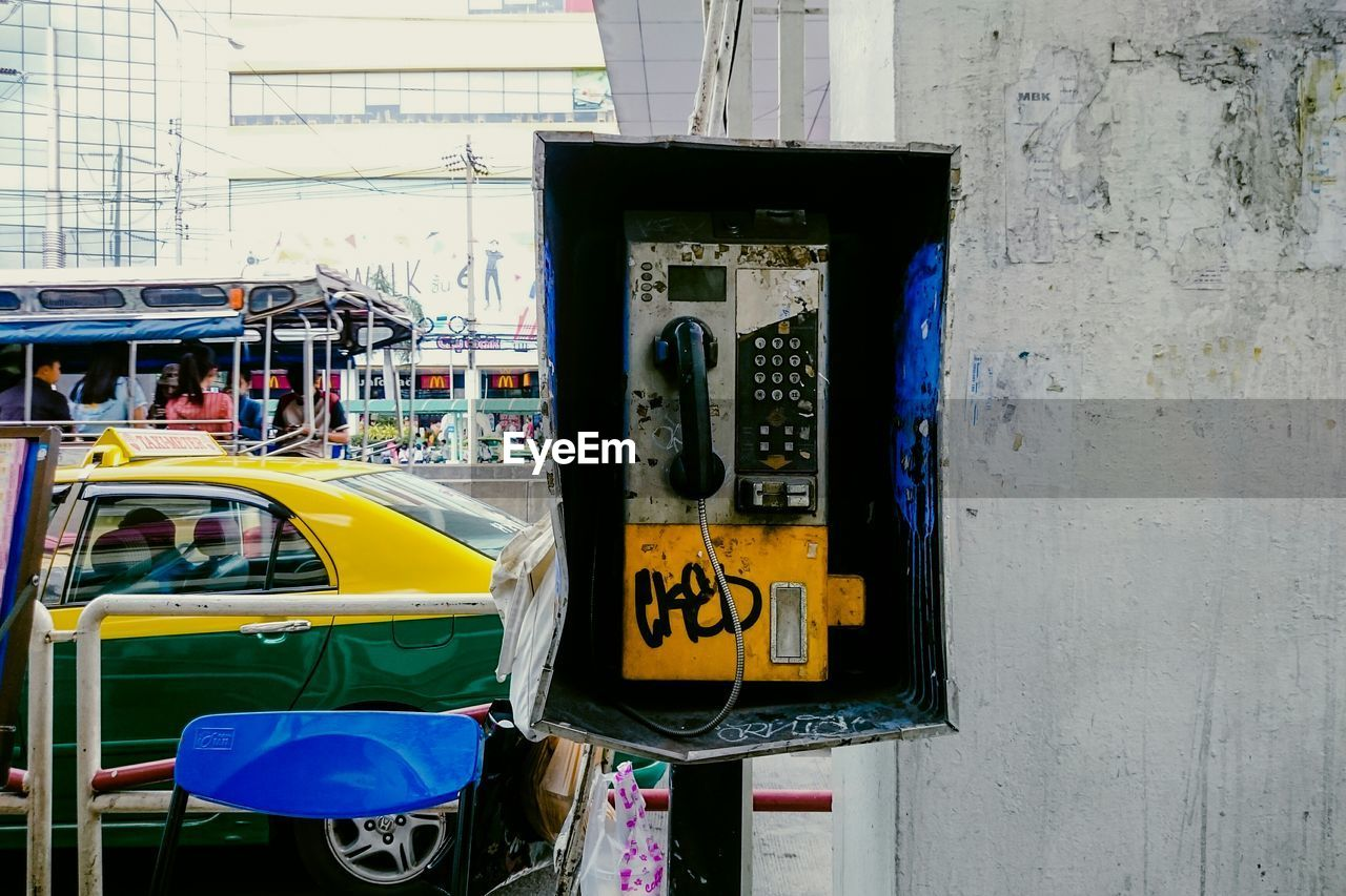 Pay phone against wall