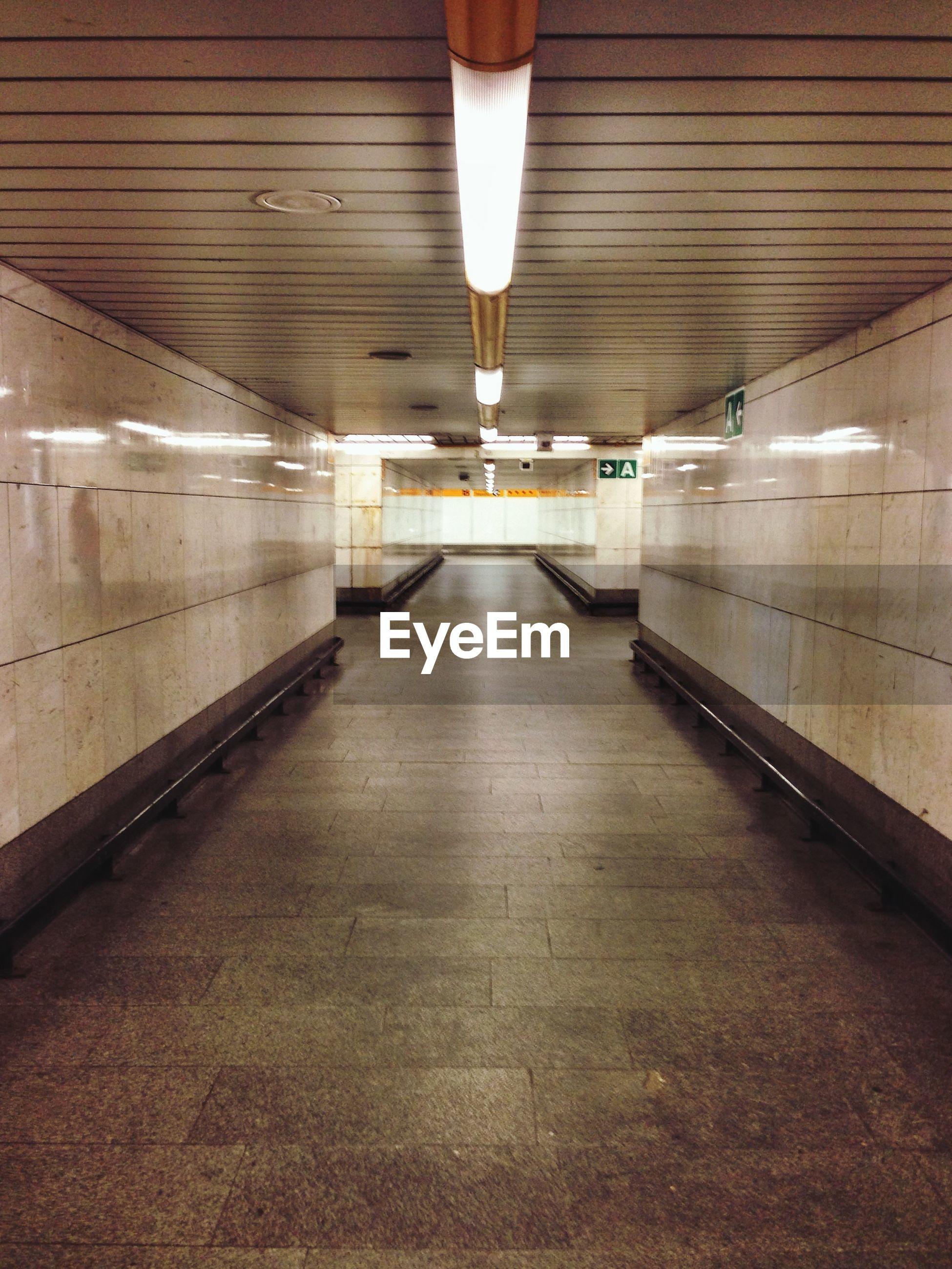 Illuminated underground subway