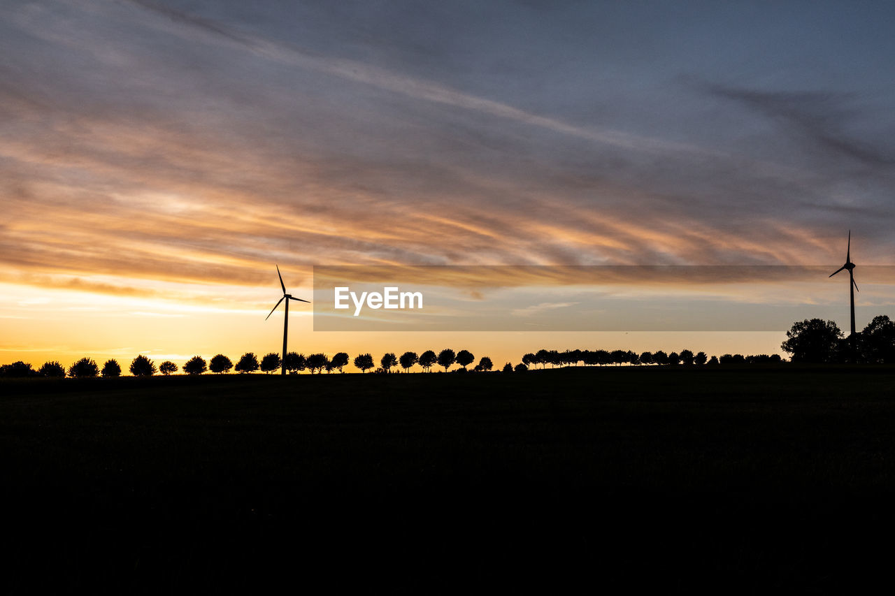 sunset, sky, environment, environmental conservation, wind turbine, landscape, renewable energy, fuel and power generation, silhouette, alternative energy, cloud - sky, scenics - nature, turbine, wind power, tranquil scene, beauty in nature, field, tranquility, land, nature, no people, outdoors, sustainable resources, power supply