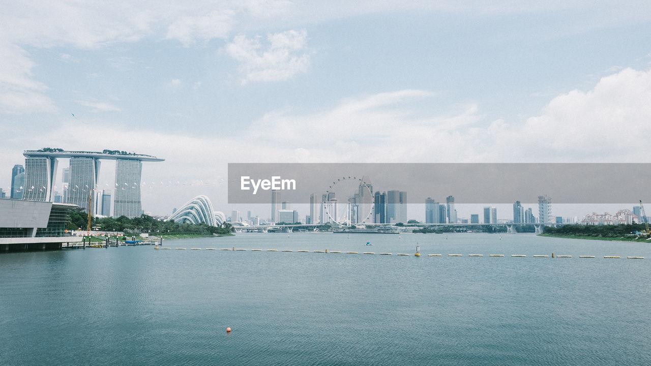 Marina Bay Sands By Bay Against Sky