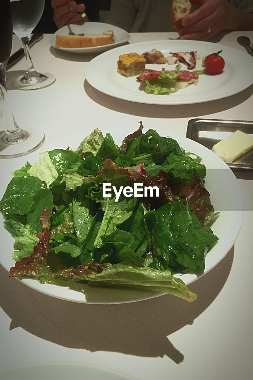 plate, food and drink, food, freshness, healthy eating, indoors, table, salad, ready-to-eat, high angle view, green color, no people, leaf, day, close-up