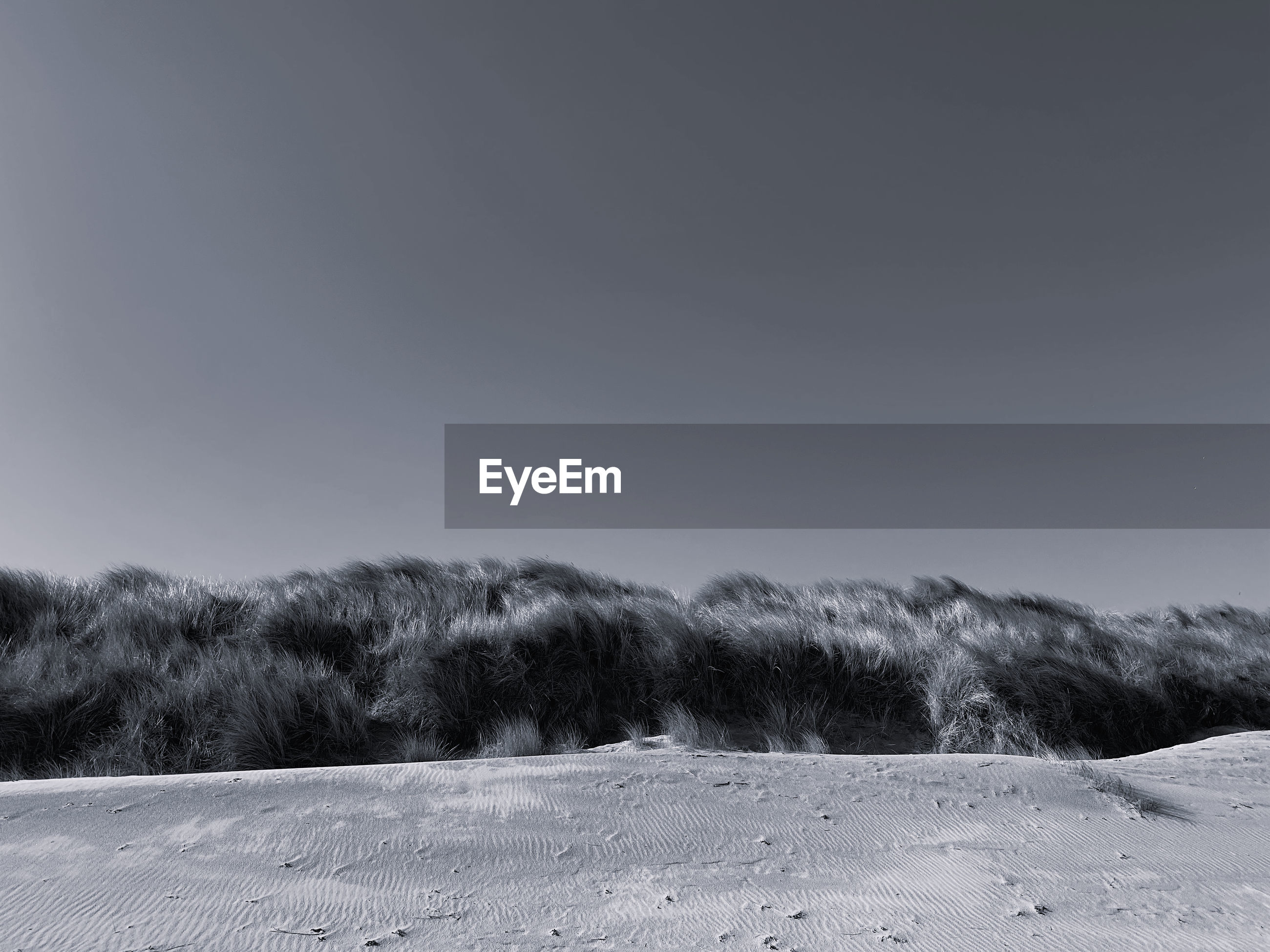 Scenic view of land against clear sky during winter