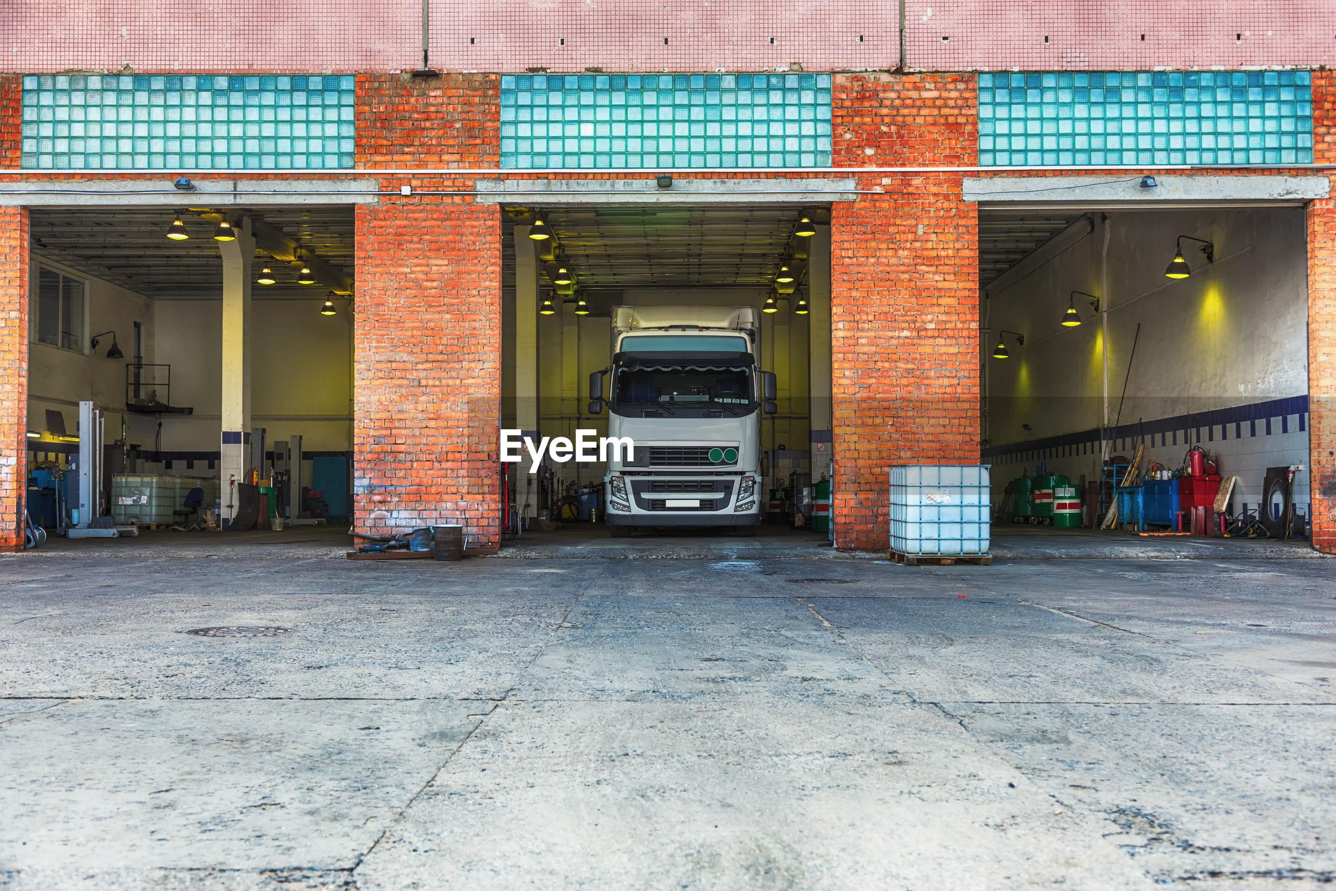 Semi-truck at distribution warehouse