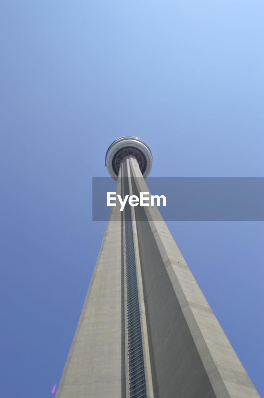 Low angle view of cn tower against sky