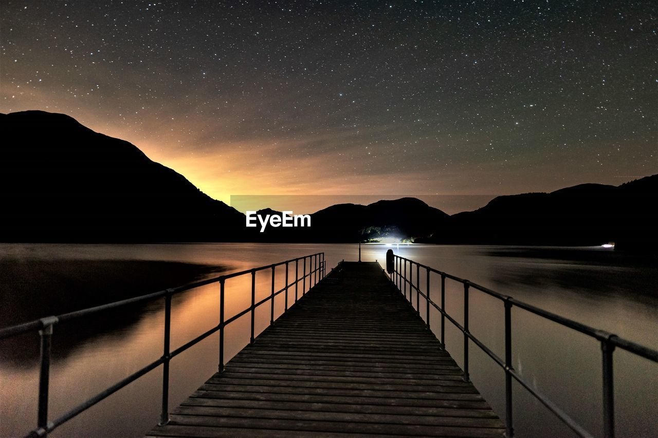 Ullswater from aira force steamer pier at night