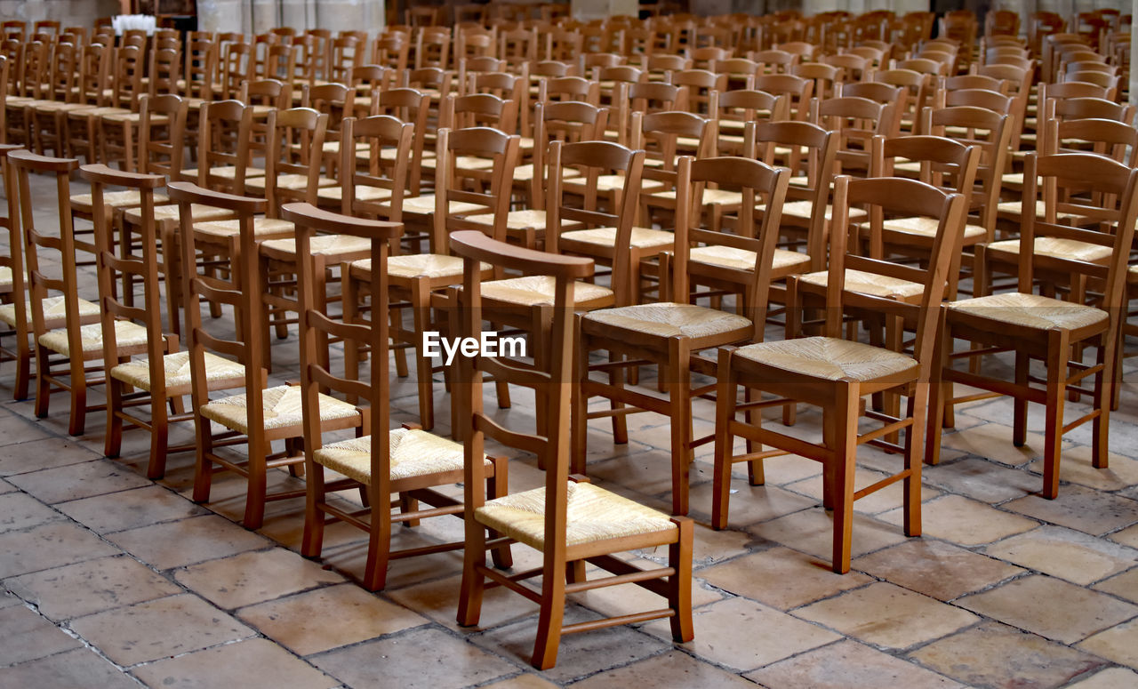 Empty Chairs Arranged At Church