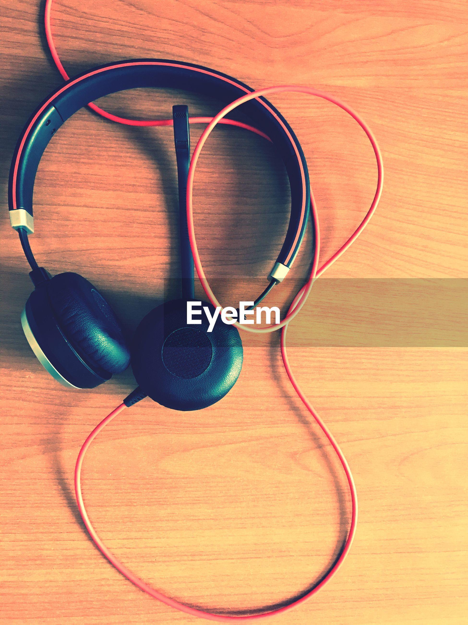 High angle view of headphone on table