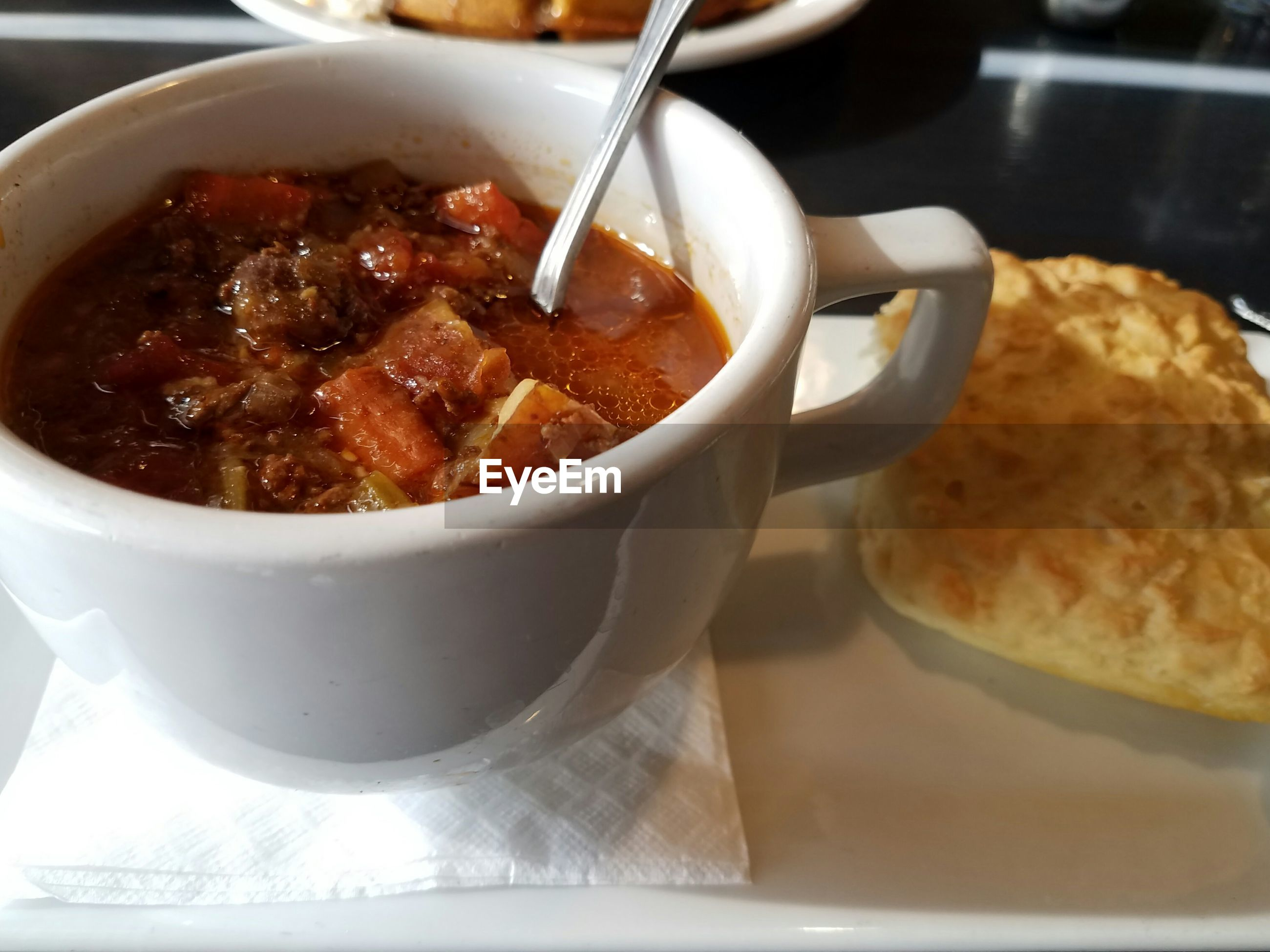 Close-up of soup in cup