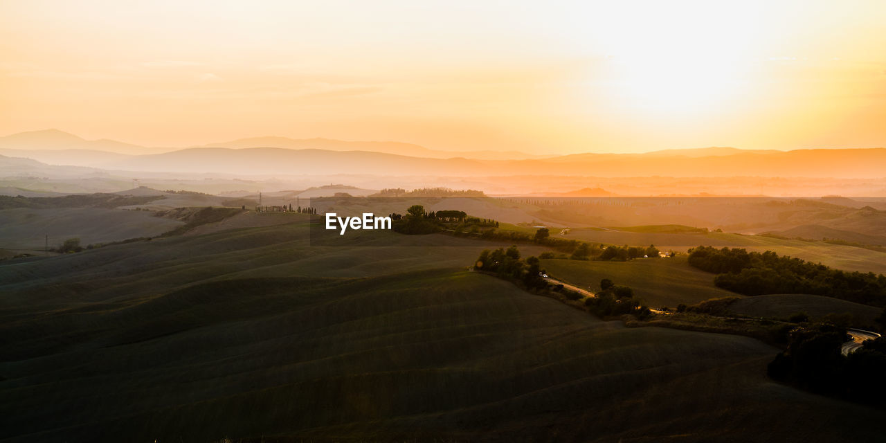 High Angle View Of Idyllic Rural Landscape At Sunset