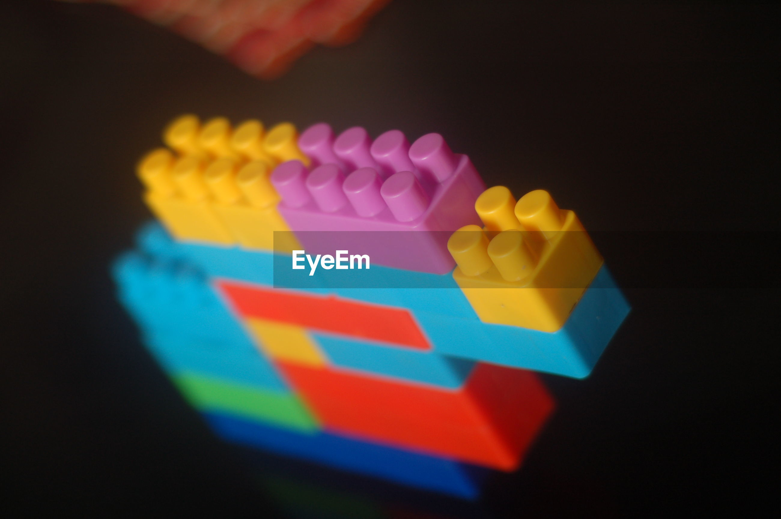 High angle view of colorful toy blocks on table