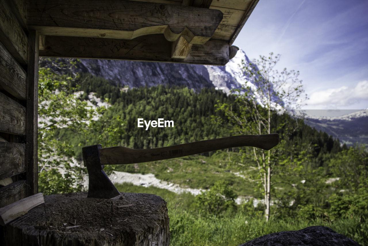 Axe on tree stump against mountain