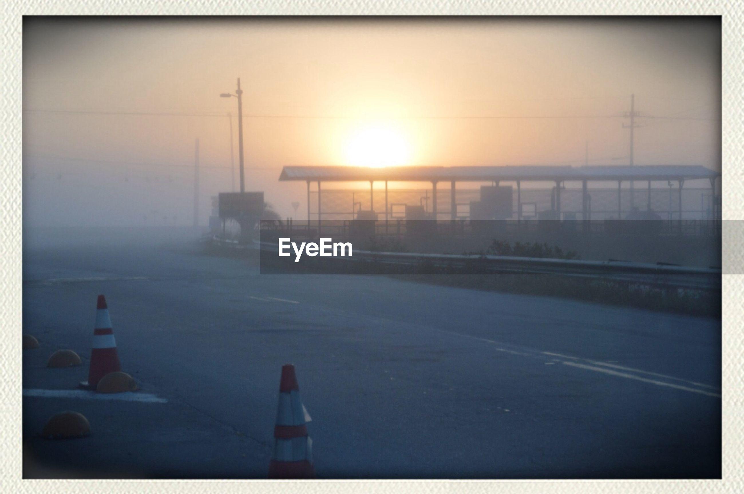 Empty road in fog