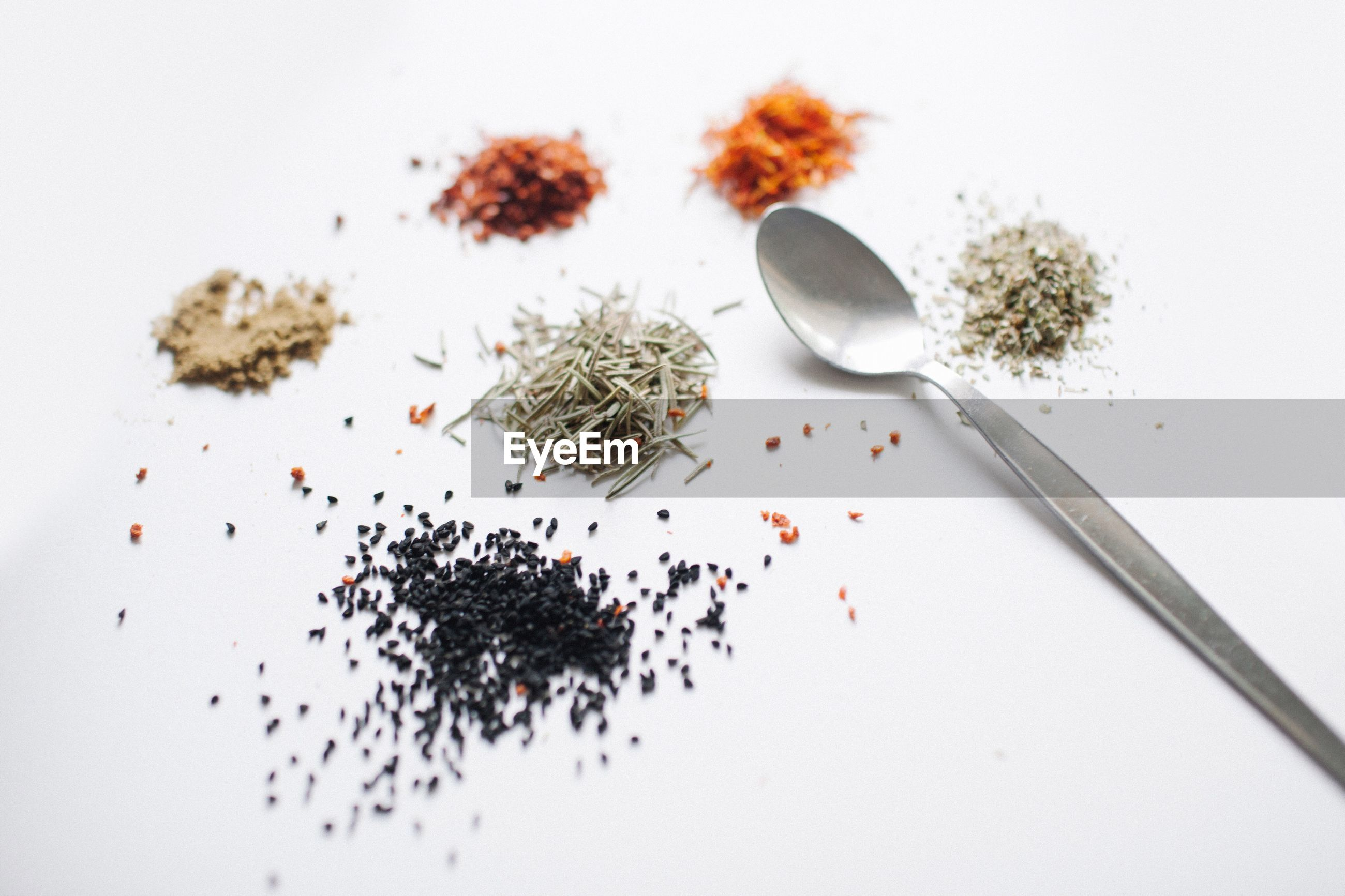 Close-up of spoon and ingredients on white background