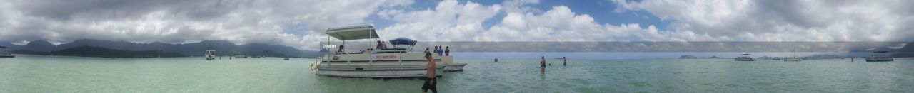 water, sea, nautical vessel, cloud - sky, panoramic, sky, nature, transportation, day, mode of transport, outdoors, scenics, tranquility, no people, beauty in nature
