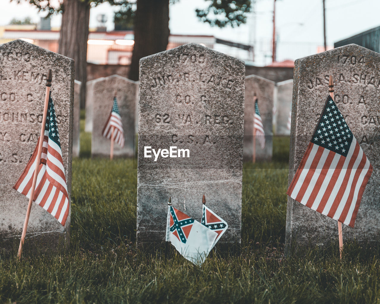 patriotism, flag, grave, cemetery, tombstone, stone, grass, memorial, plant, no people, day, nature, emotion, war memorial, shape, outdoors