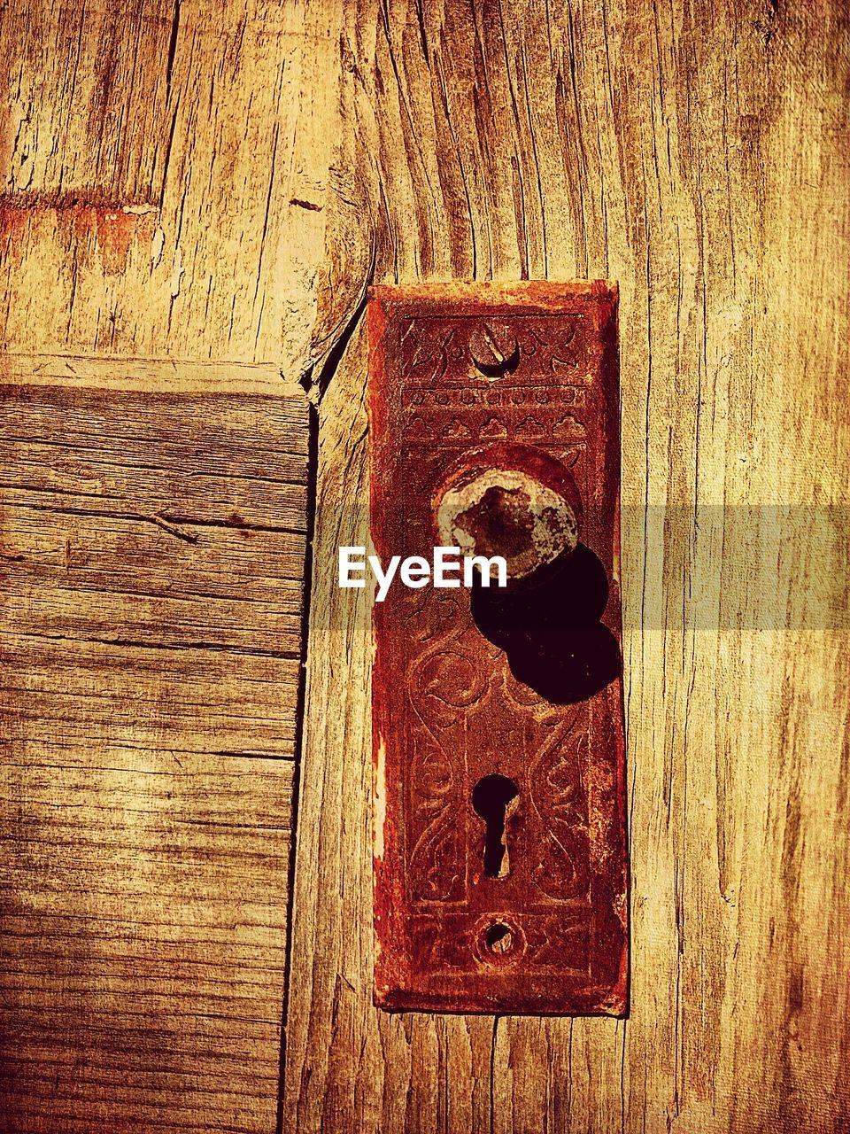 wood - material, door, no people, close-up, metal, safety, textured, lock, day, indoors, hinge