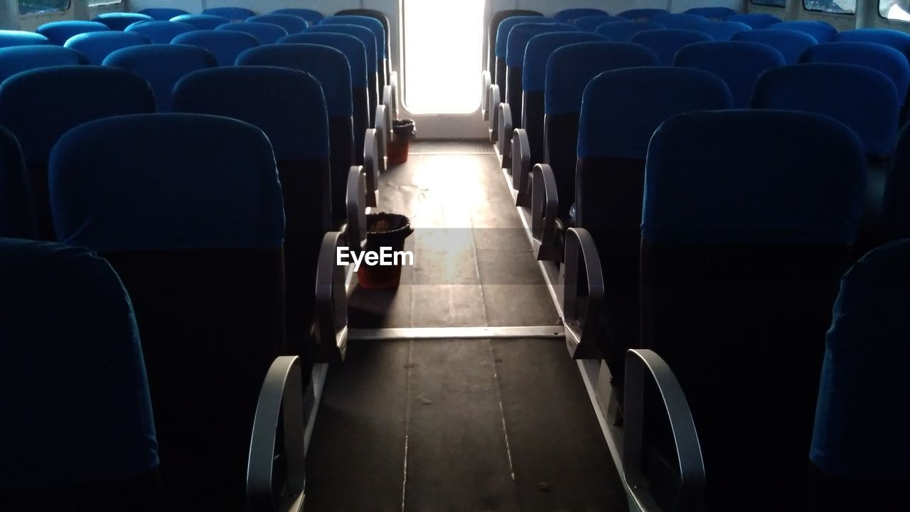 Empty seats in train