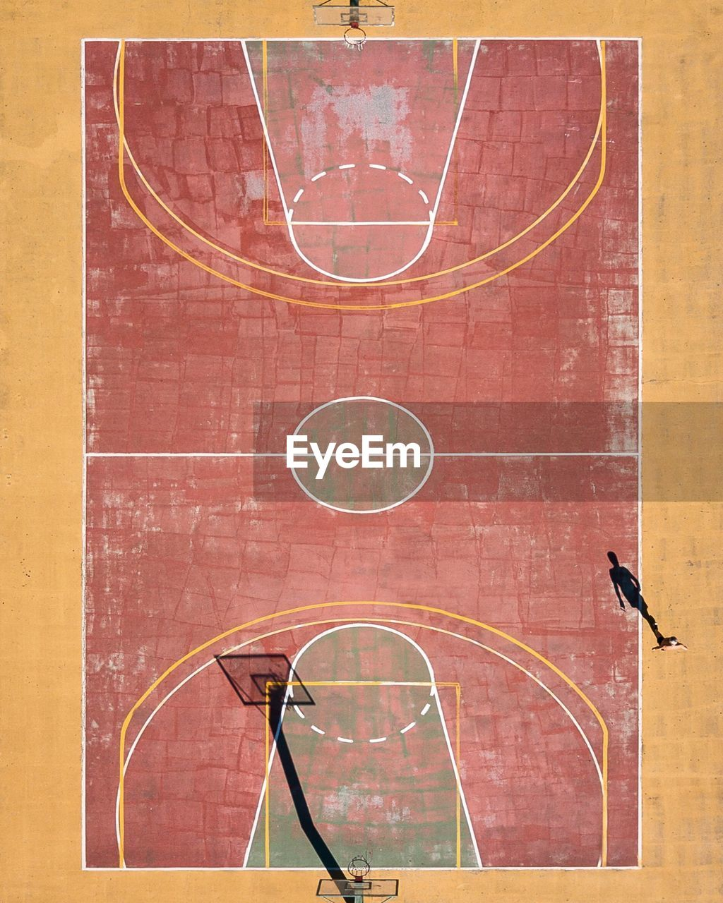 High angle view of basketball court on sunny day