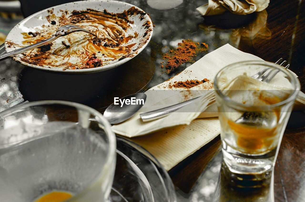food and drink, food, freshness, table, still life, kitchen utensil, eating utensil, no people, indoors, household equipment, ready-to-eat, glass, close-up, plate, selective focus, refreshment, serving size, bowl, drink, high angle view, temptation, tray