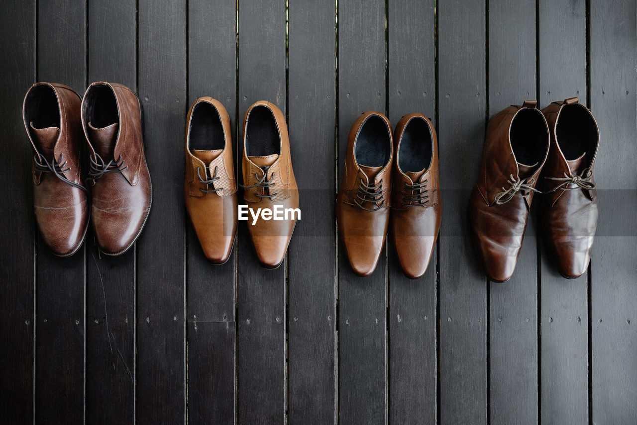 Directly above shot of leather shoes on table