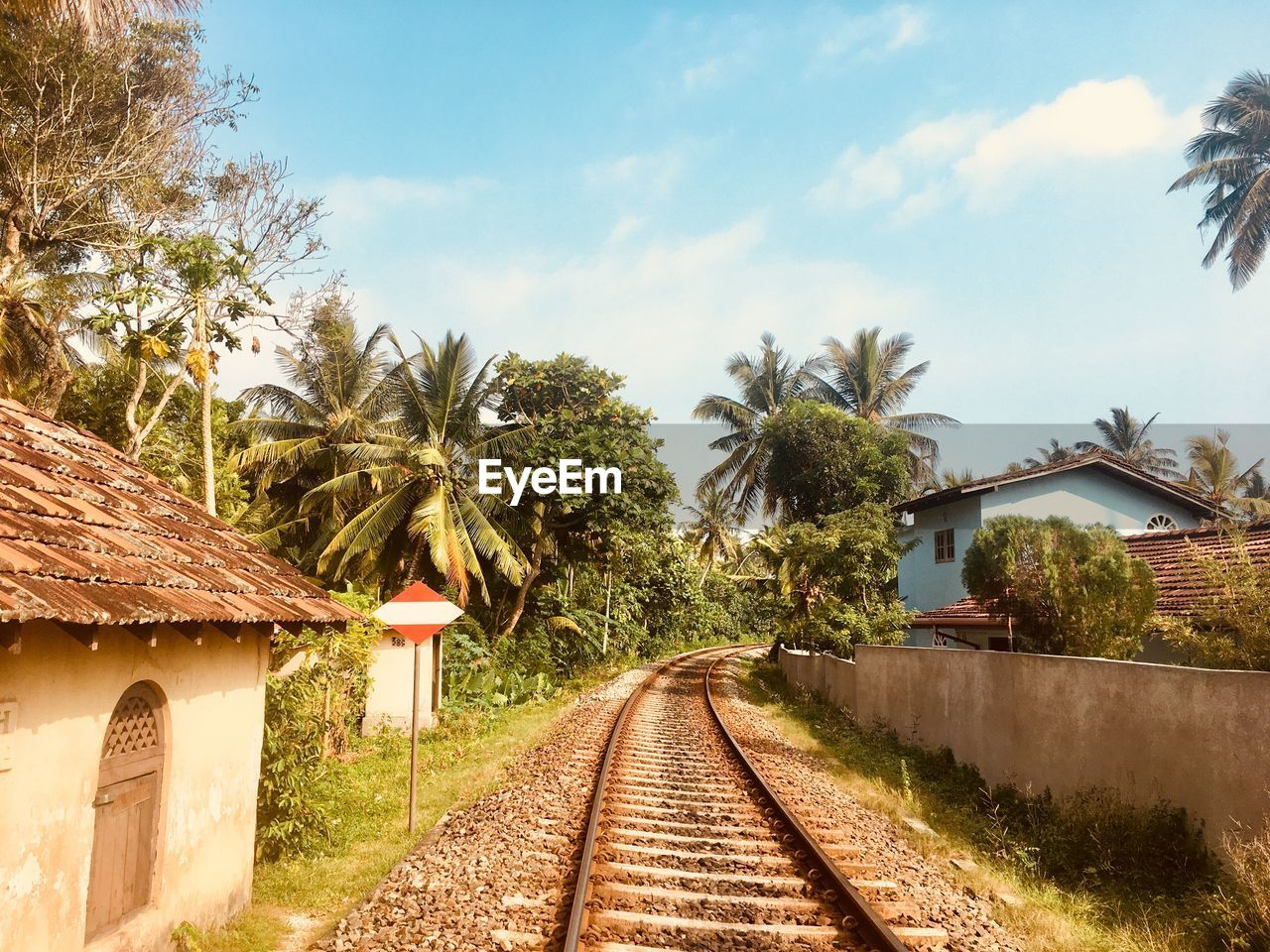 tree, railroad track, palm tree, sky, the way forward, transportation, built structure, rail transportation, day, no people, architecture, outdoors, cloud - sky, scenics, nature, building exterior, beauty in nature