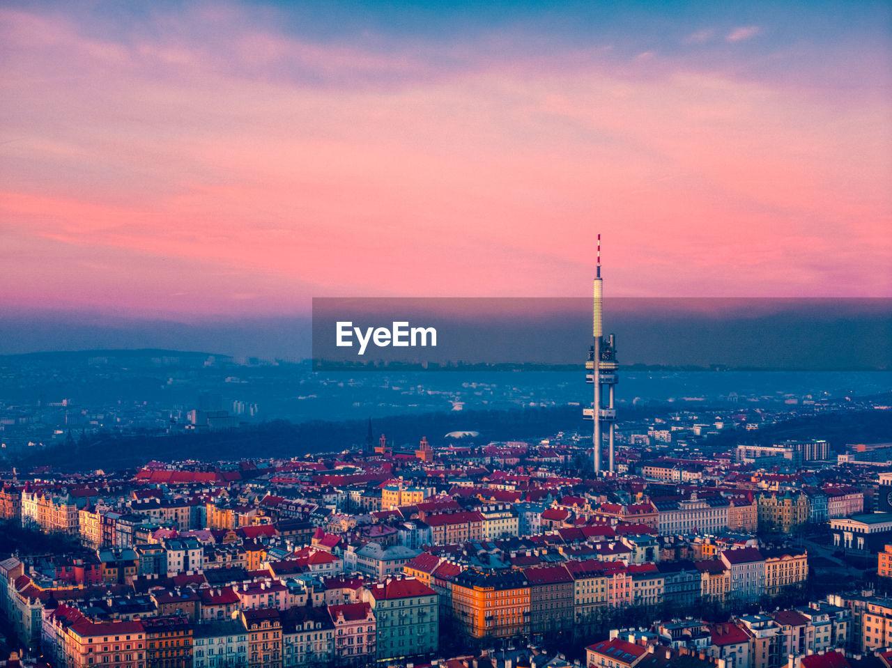 Aerial view of prague tv tower