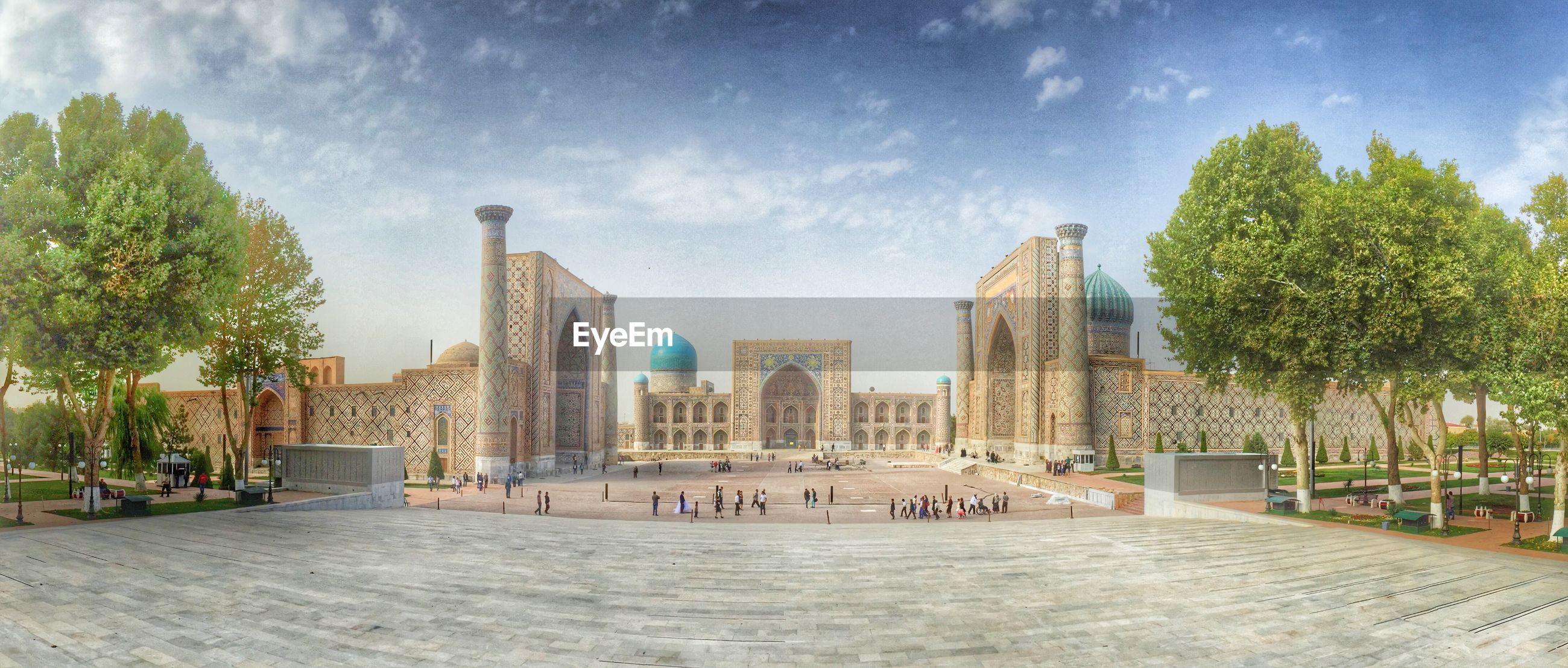 Panoramic shot of bibi-khanym mosque against sky