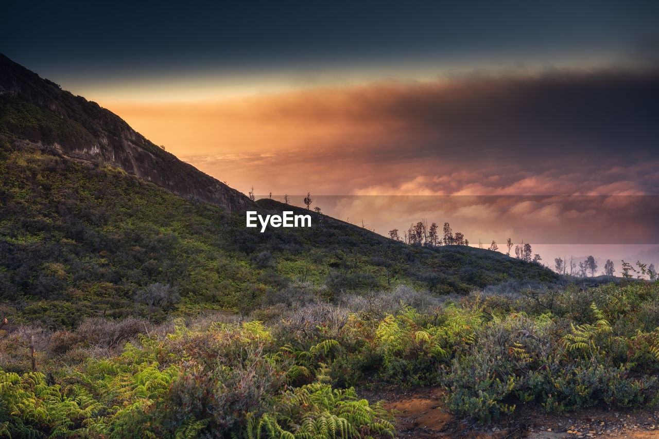 Scenic View Of Landscape Against Cloudy Sky During Sunset