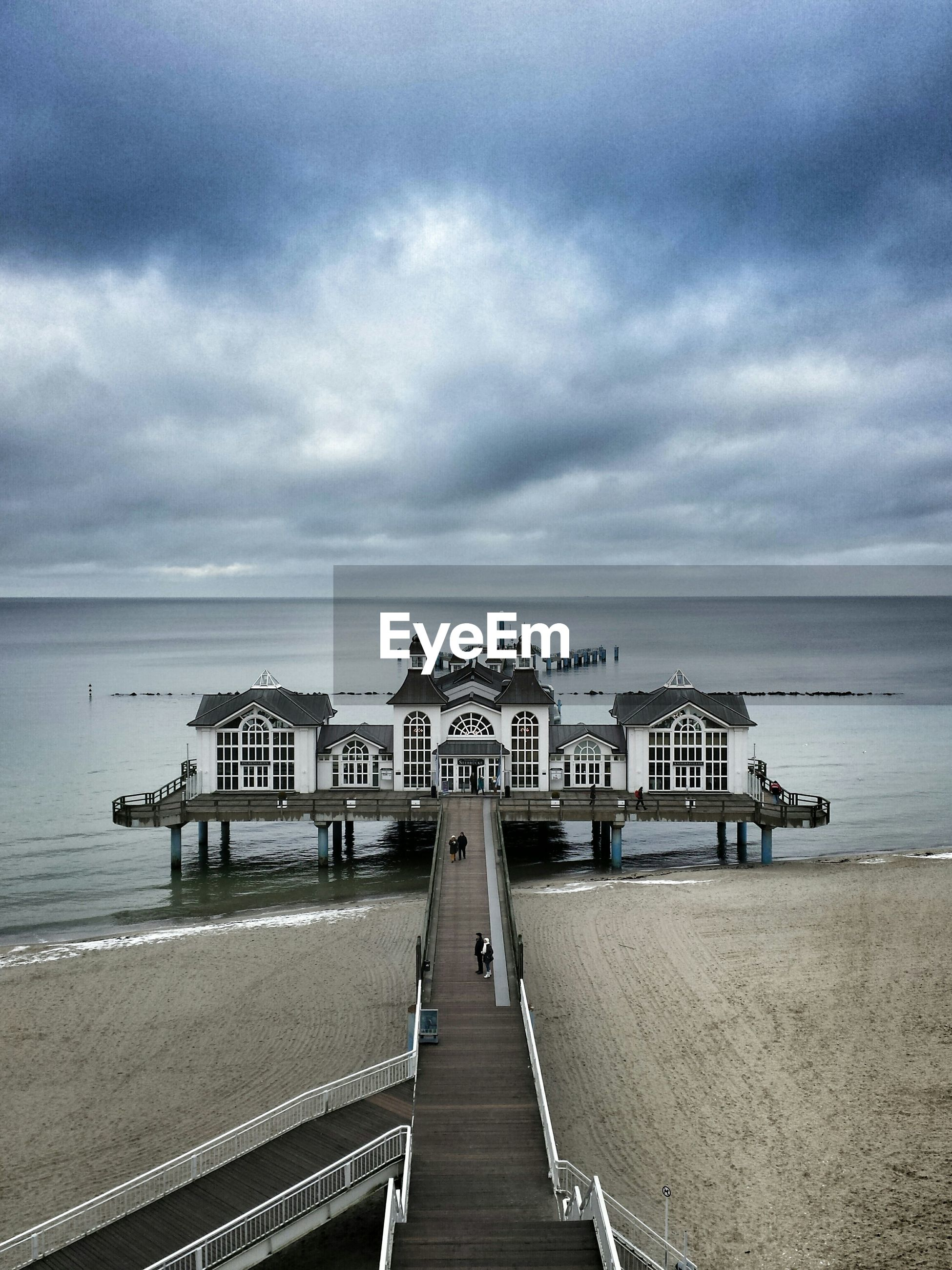 High angle view of sellin pier against cloudy sky
