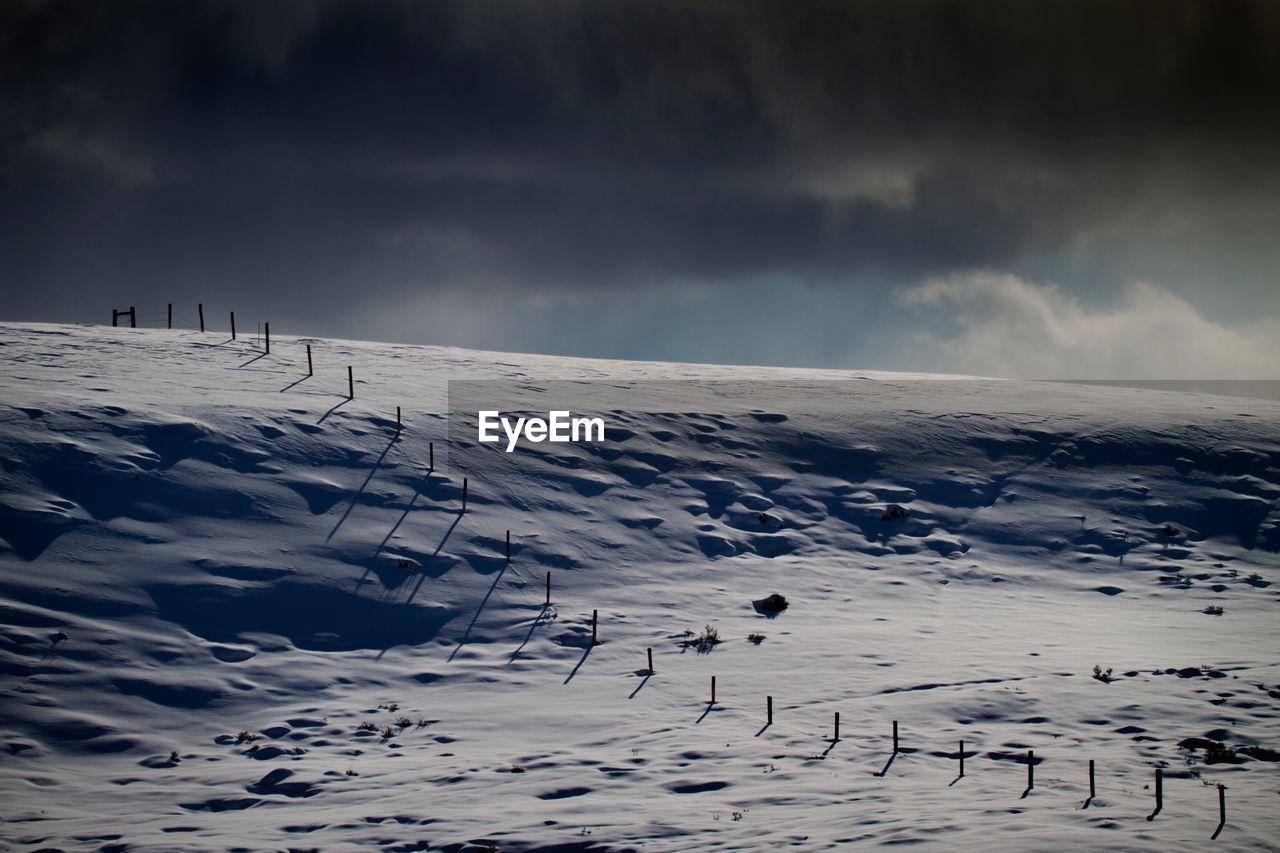 Snow Landscape Against Dramatic Sky