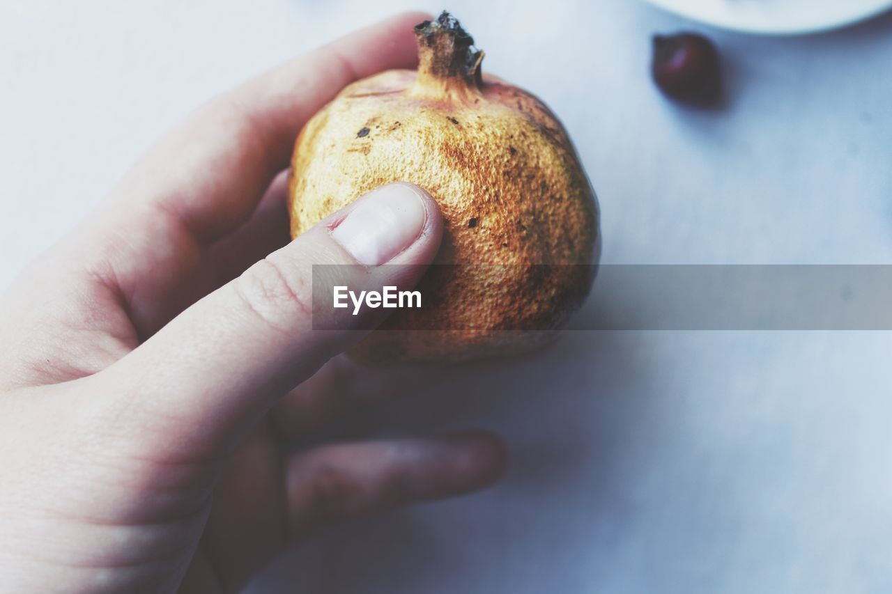 human hand, human body part, food and drink, fruit, human finger, food, healthy eating, one person, freshness, holding, close-up, real people, indoors, day, people