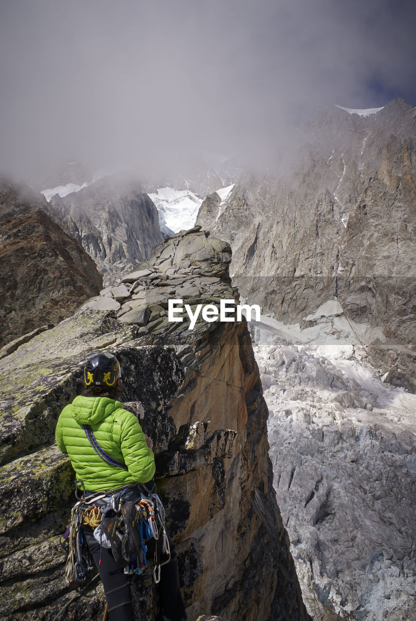 High Angle View Of Mountain Climber On Mountain