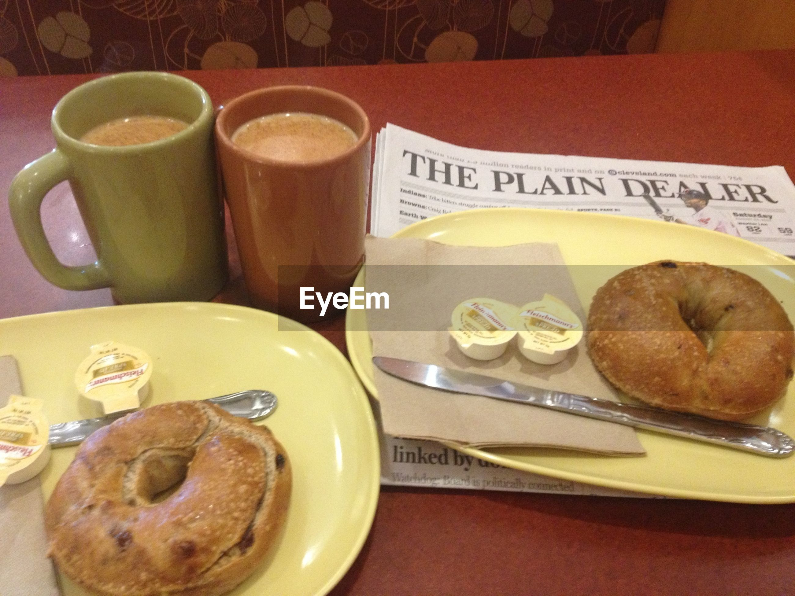 food and drink, indoors, freshness, table, drink, food, coffee cup, plate, still life, refreshment, coffee - drink, ready-to-eat, saucer, spoon, breakfast, coffee, high angle view, serving size, cup, sweet food