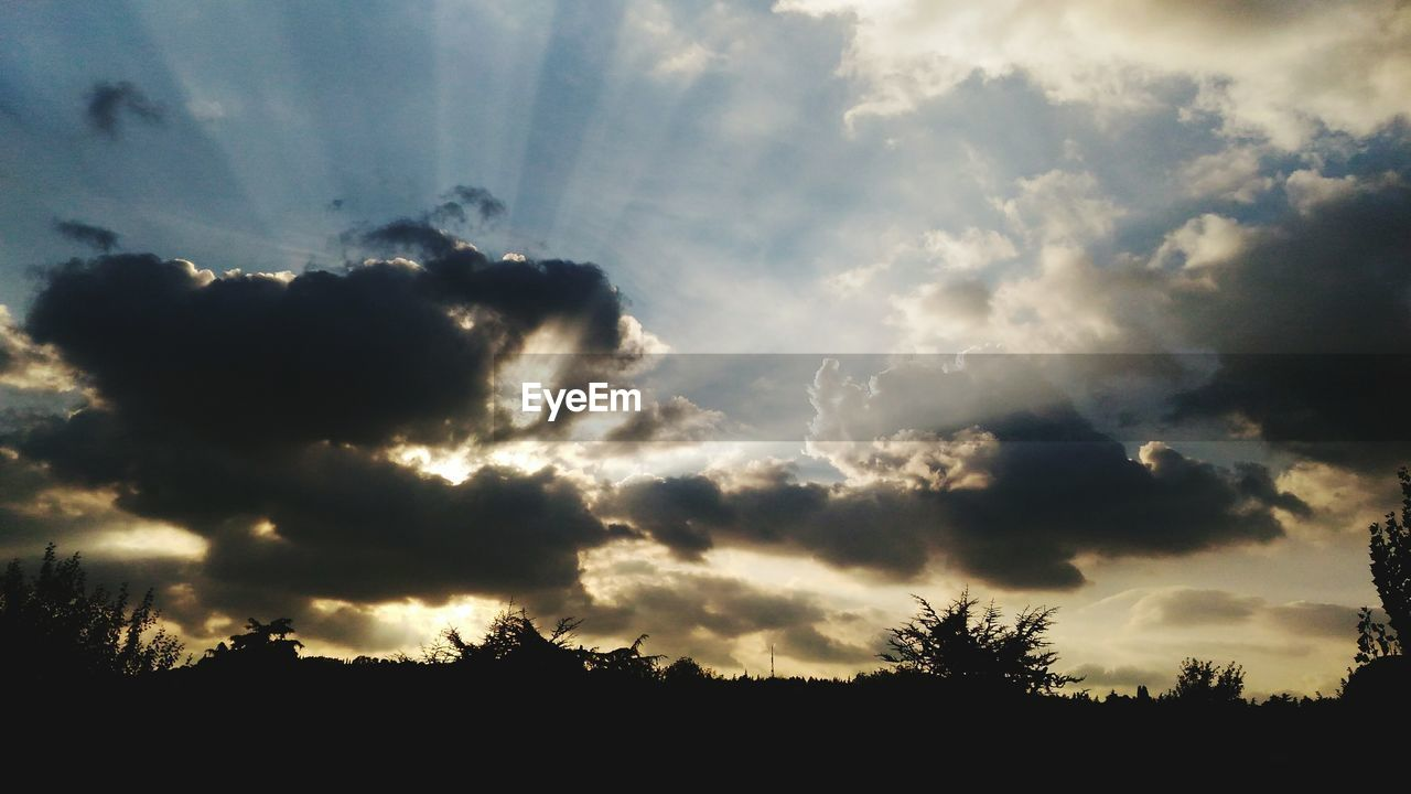 sky, nature, silhouette, cloud - sky, beauty in nature, scenics, tranquility, no people, tree, tranquil scene, outdoors, sunset, storm cloud, low angle view, day