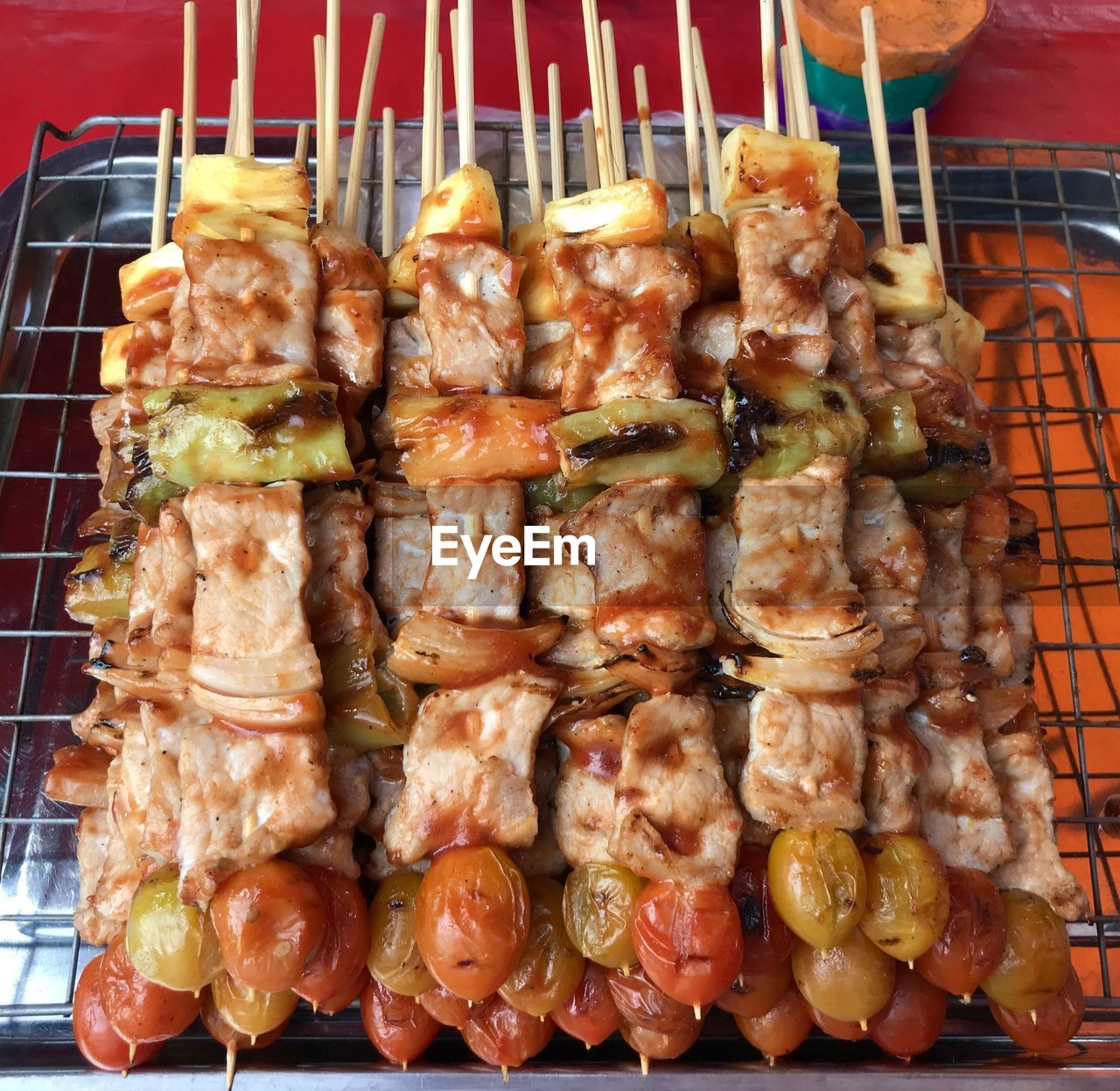 HIGH ANGLE VIEW OF SEAFOOD ON BARBECUE