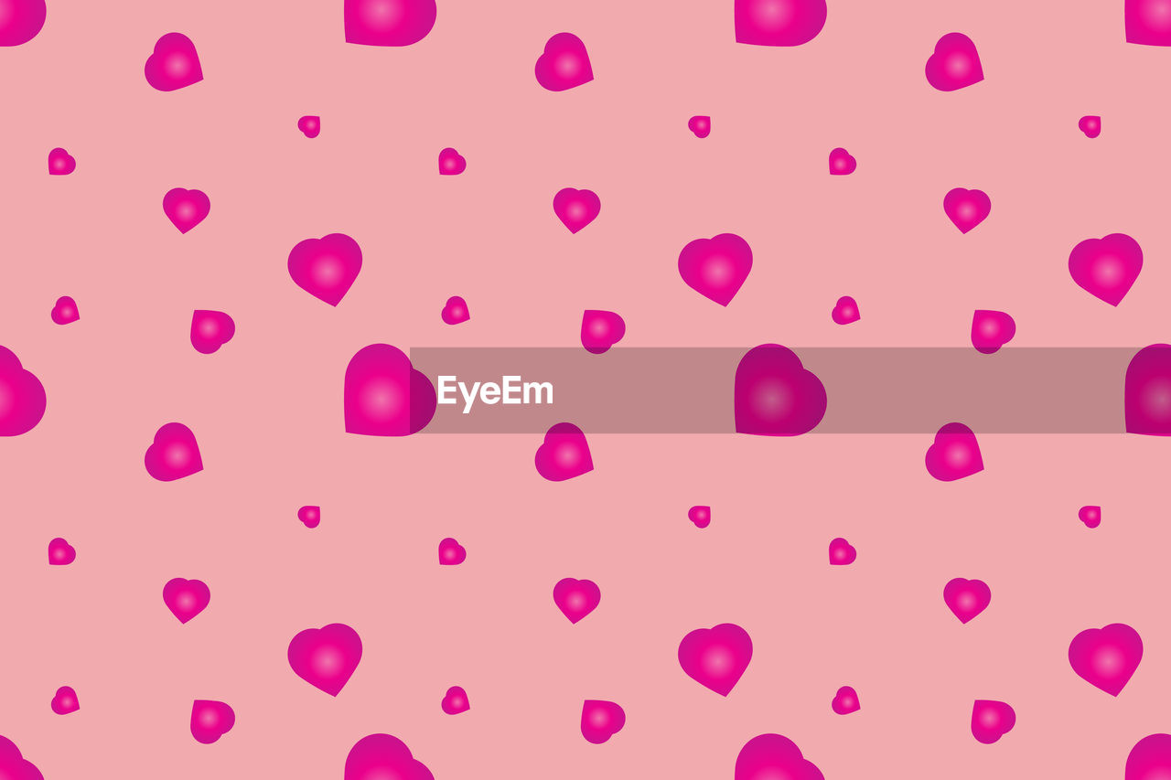 pink color, studio shot, indoors, backgrounds, no people, full frame, pattern, close-up, white background, still life, spotted, cut out, pink background, art and craft, white color, large group of objects, heart shape, paper, high angle view, circle, purple, valentine's day - holiday