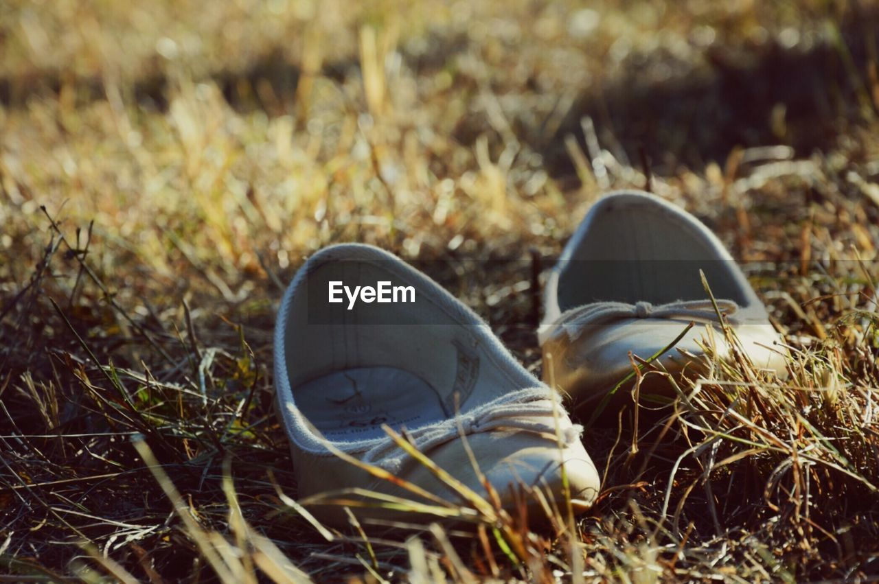 Close-up of pair of shoes on grassy field