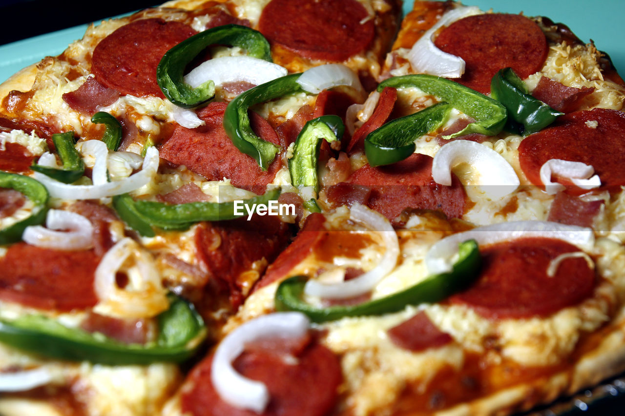 pizza, food and drink, food, vegetable, cheese, indoors, dairy product, close-up, freshness, unhealthy eating, italian food, still life, ready-to-eat, no people, pepperoni, indulgence, serving size, fruit, fast food, sausage, pepperoni pizza, snack, take out food, herb, temptation, tomato sauce