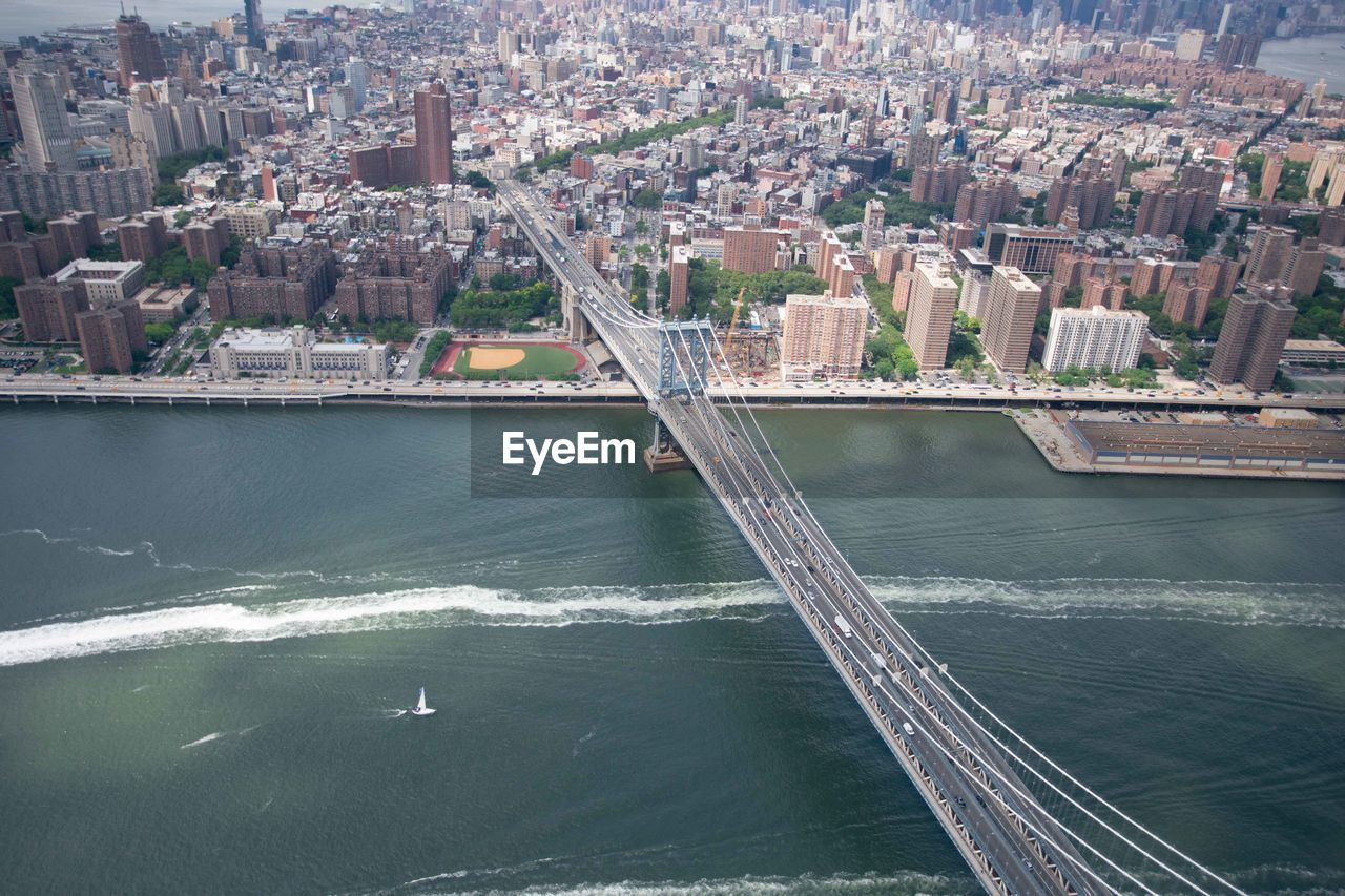 architecture, building exterior, built structure, city, water, cityscape, building, transportation, day, high angle view, bridge, river, nature, no people, office building exterior, connection, skyscraper, aerial view, outdoors, bridge - man made structure, modern, financial district
