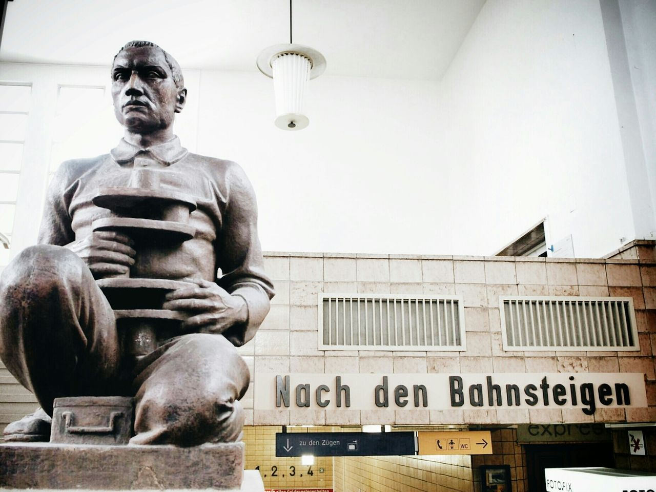 Low angle view of statue at zwickau hauptbahnhof