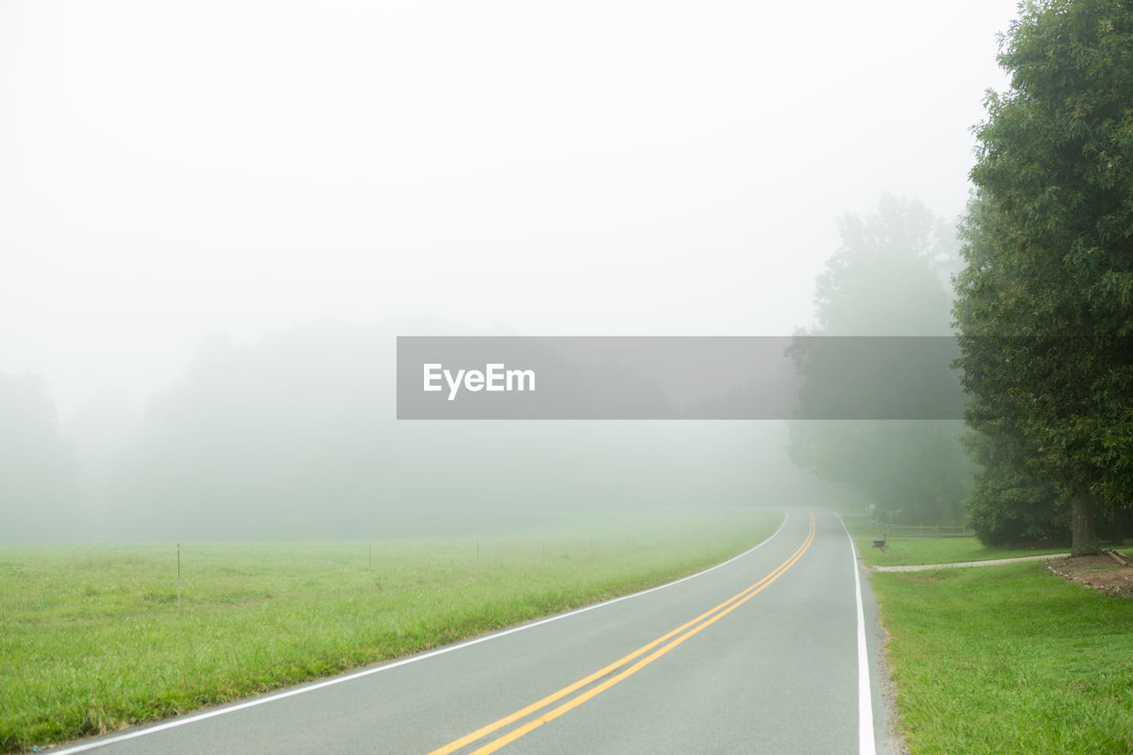 fog, the way forward, road, nature, foggy, landscape, tranquil scene, tranquility, day, tree, no people, grass, outdoors, transportation, scenics, beauty in nature, mist, sky