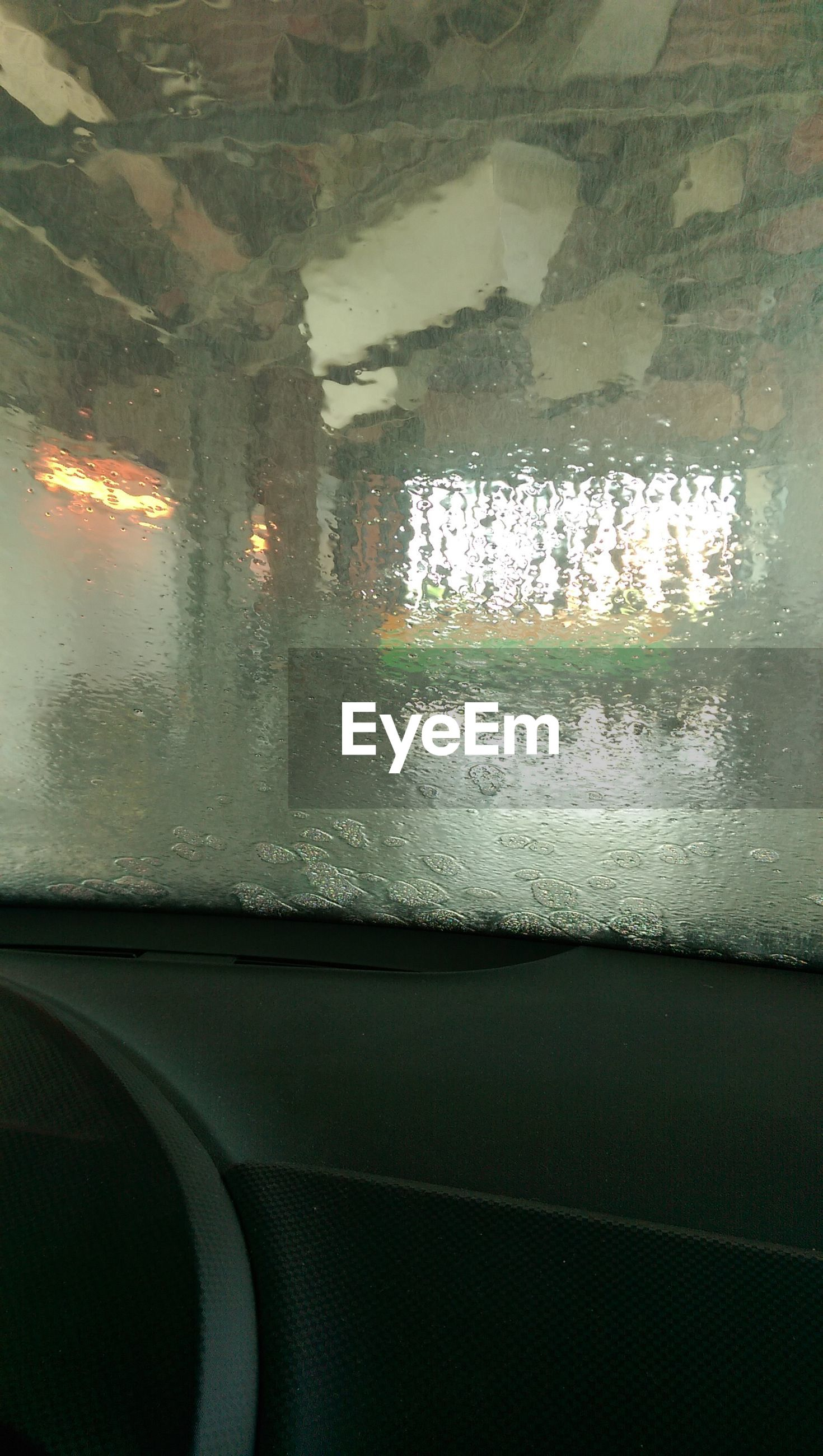 Close-up of wet rear windshield
