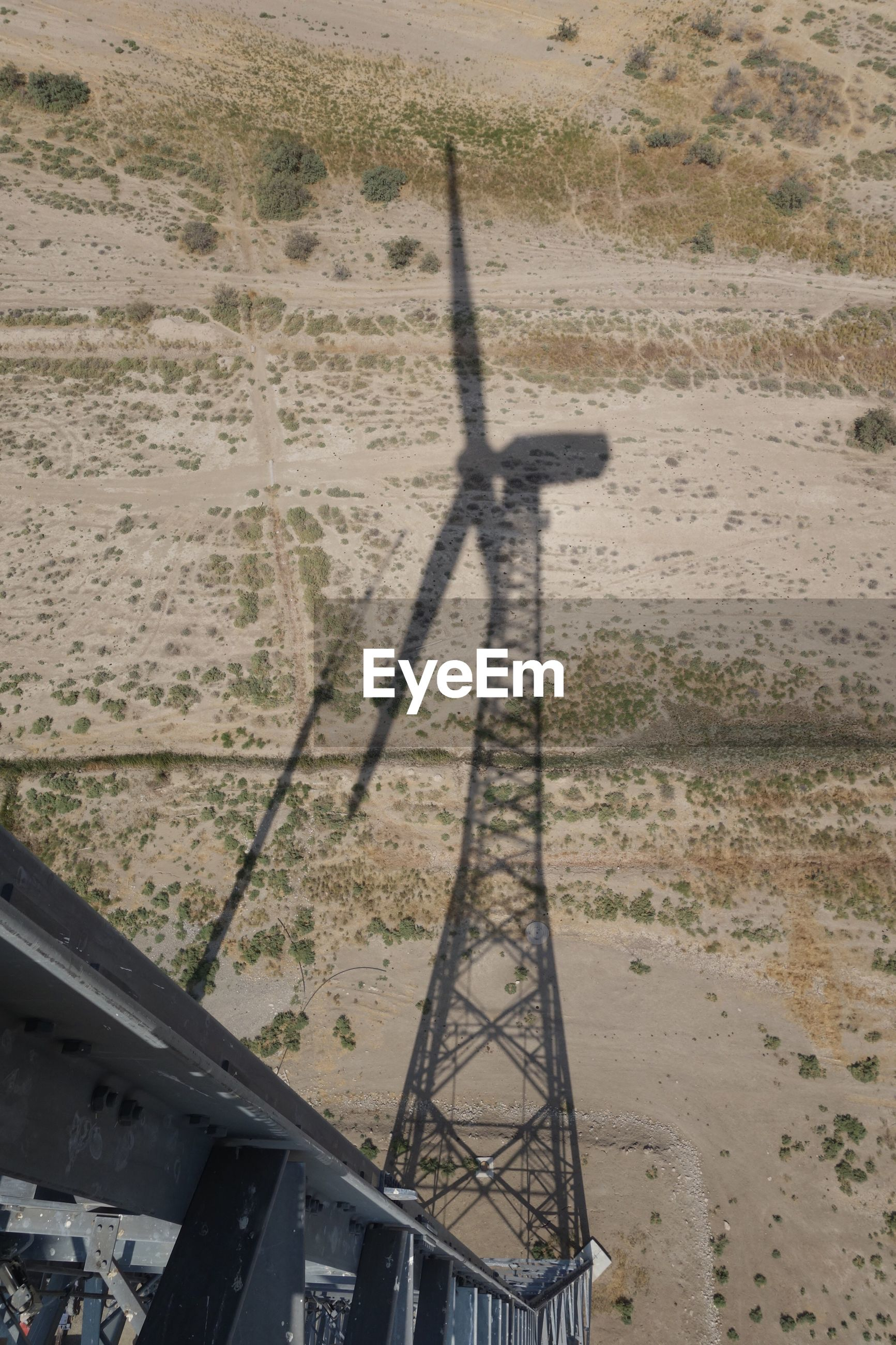 Wind turbine shadow. perspective from height.