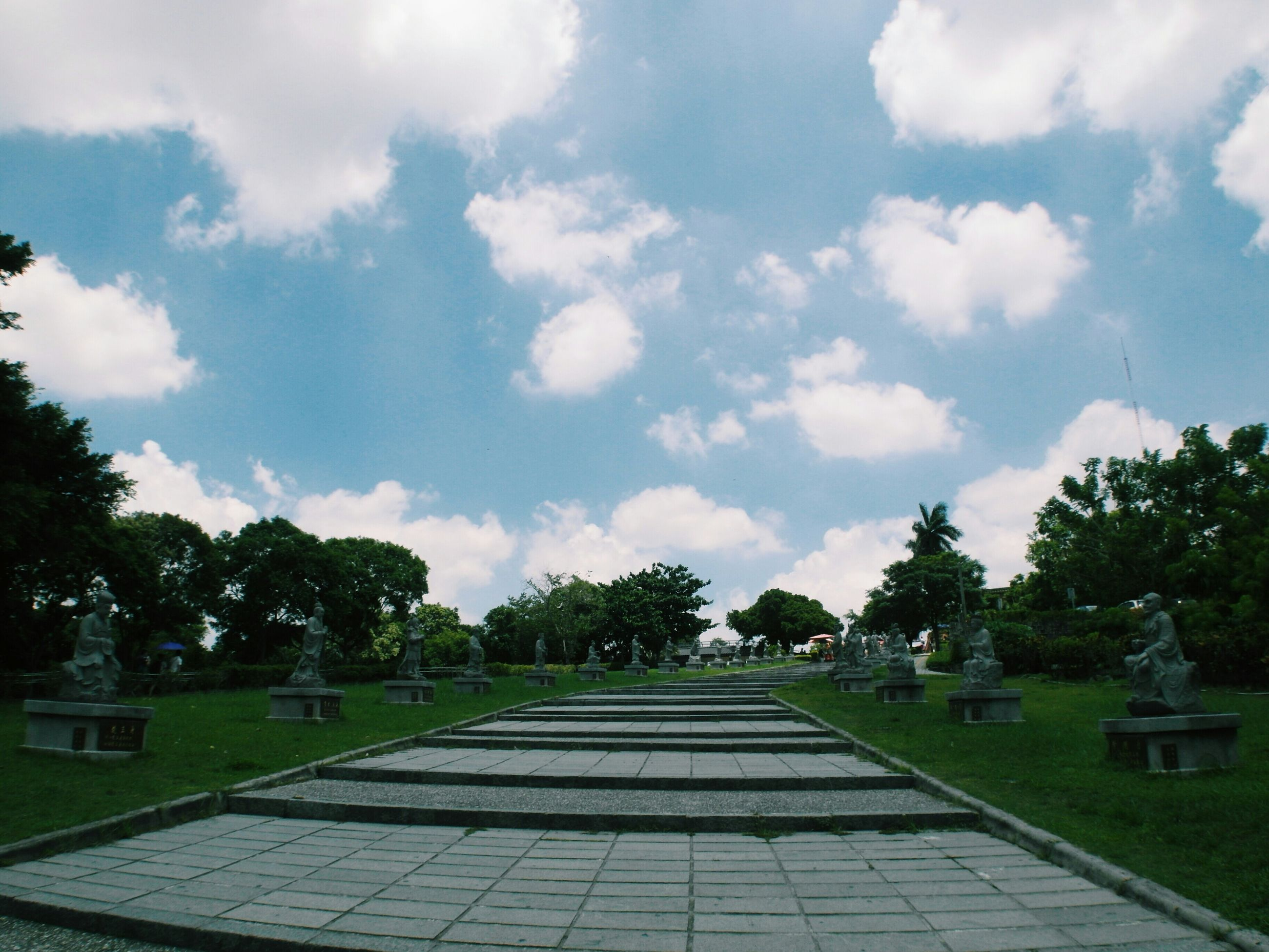 tree, sky, cloud - sky, cloud, built structure, architecture, building exterior, cloudy, growth, the way forward, park - man made space, grass, palm tree, green color, nature, sunlight, day, outdoors, no people, footpath