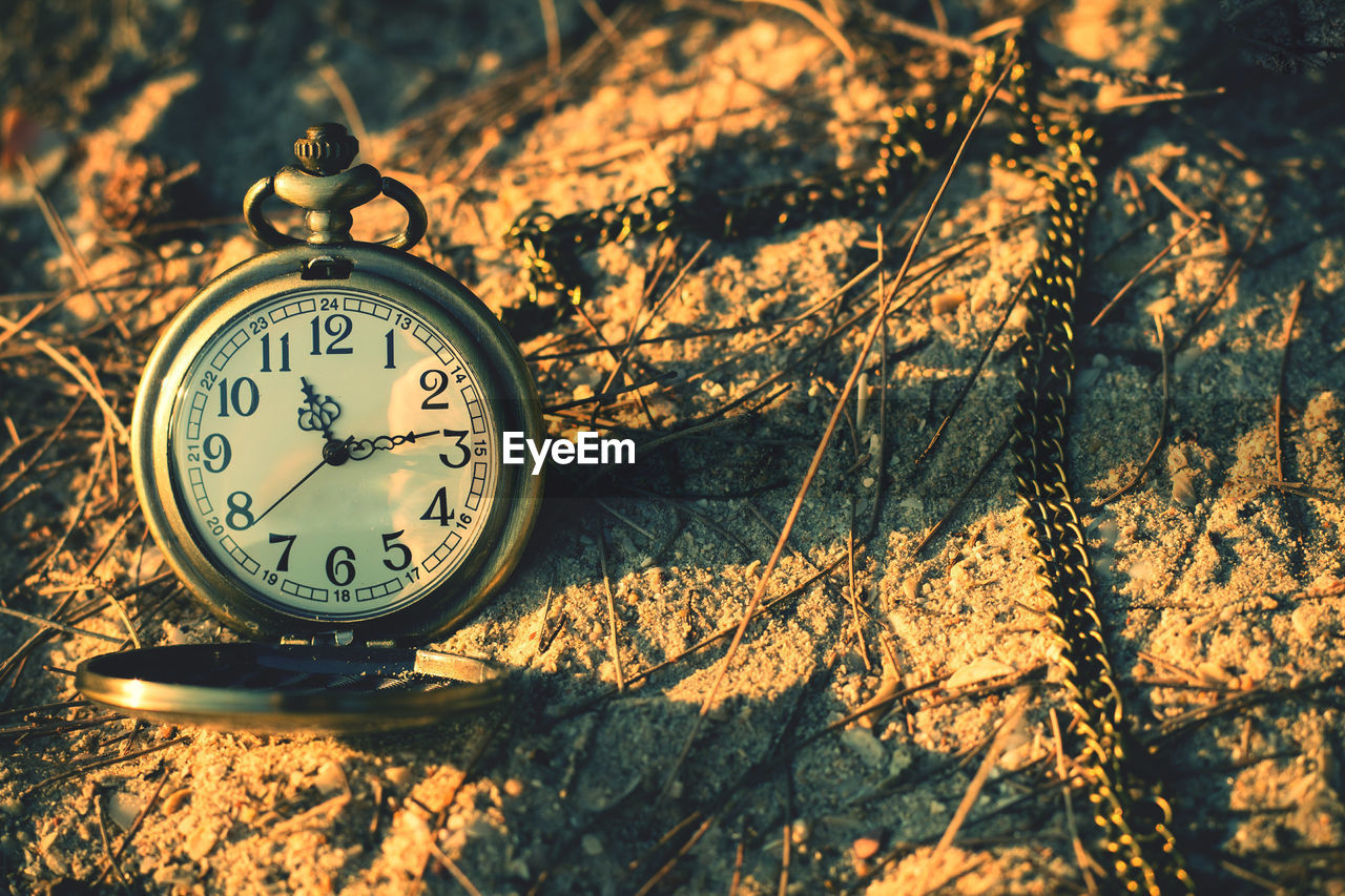 Close-up of pocket watch on field during sunset