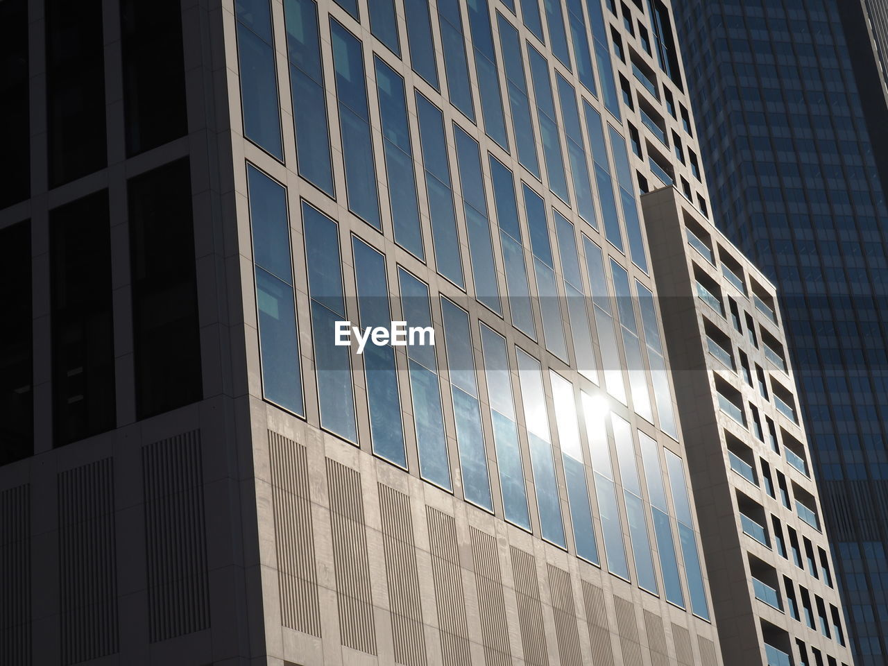 architecture, low angle view, window, built structure, modern, reflection, building exterior, day, no people, sunlight, corporate business, outdoors, skyscraper