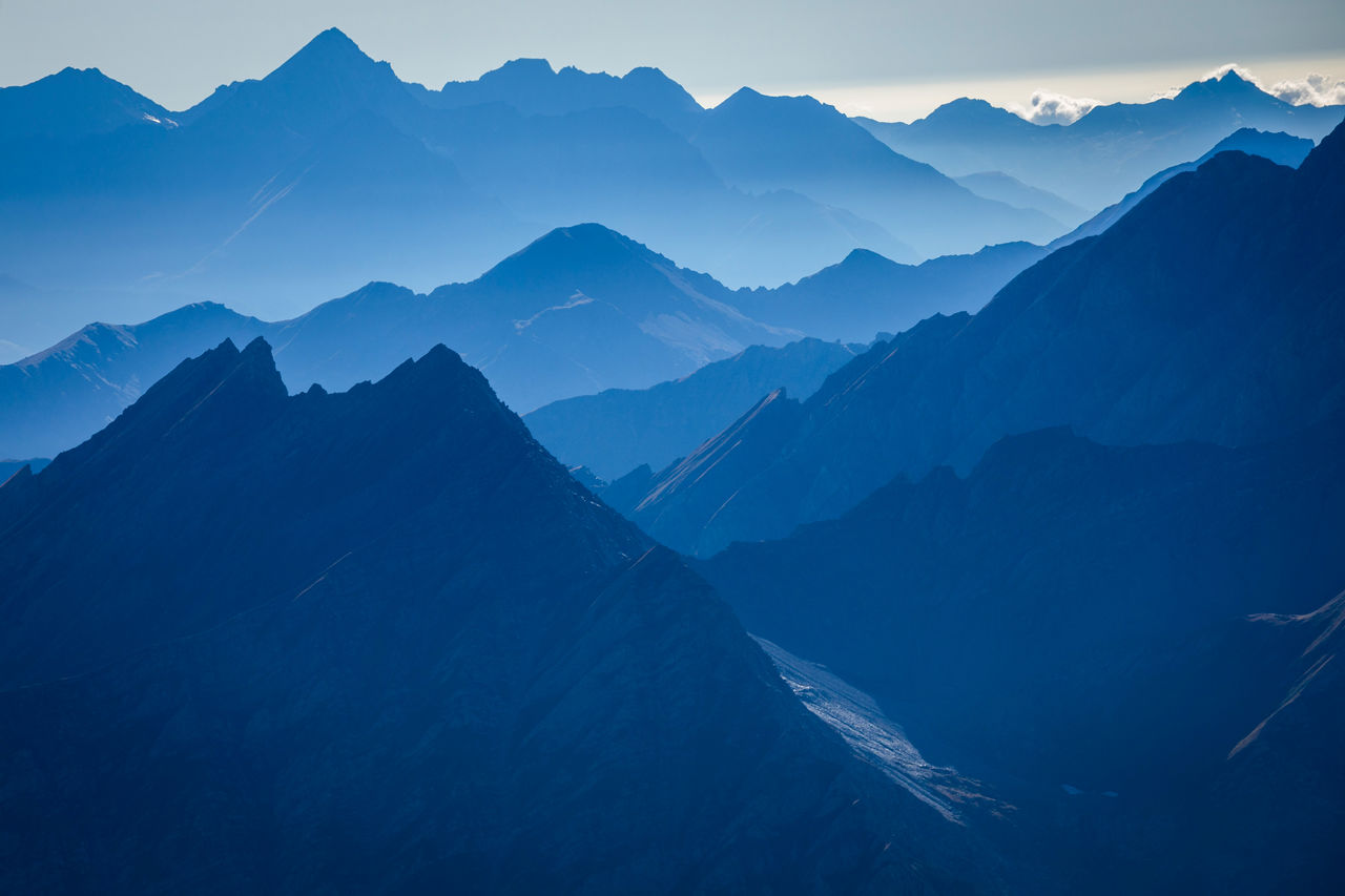 Scenic view of mountains during sunrise