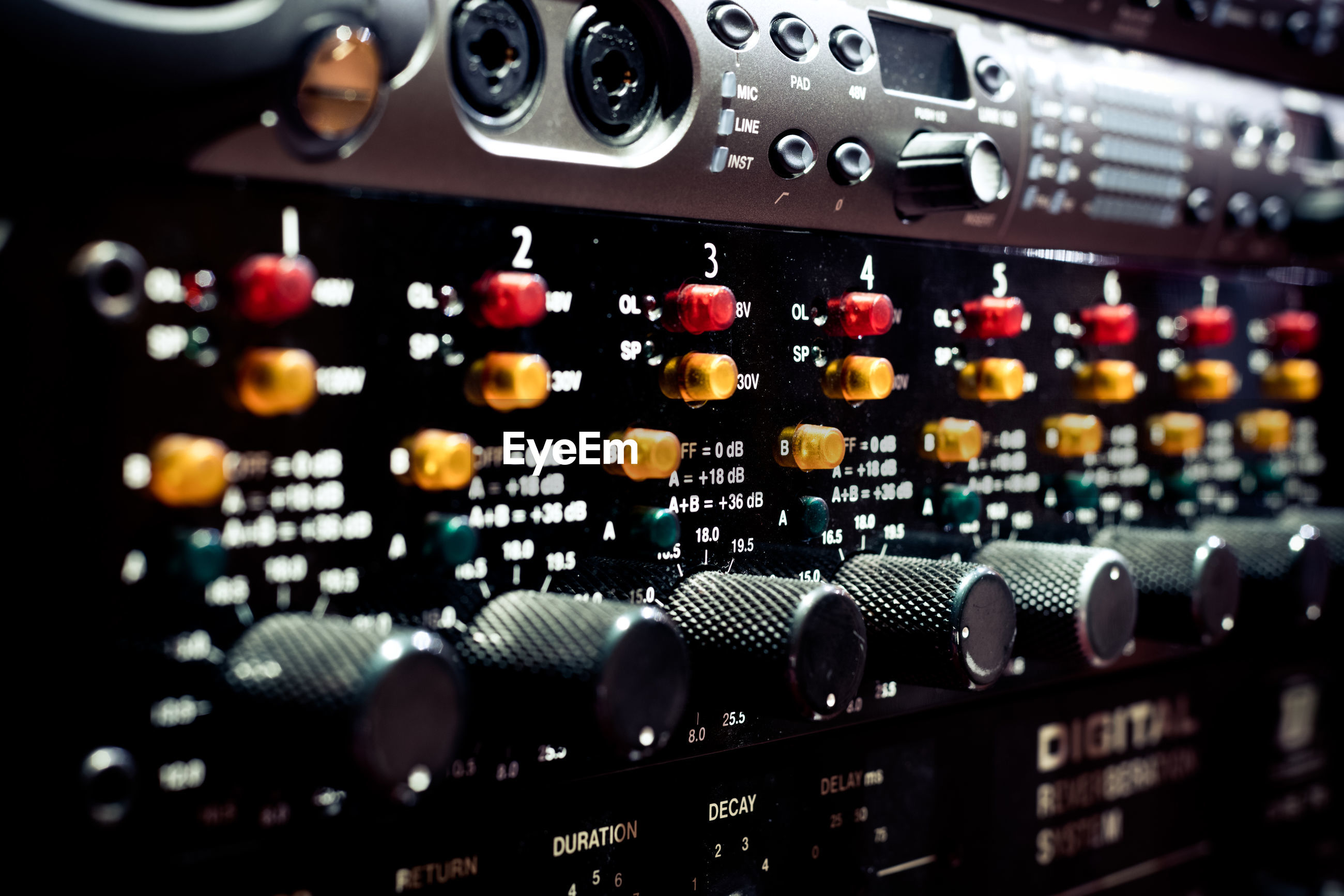 Full frame shot of audio control panel